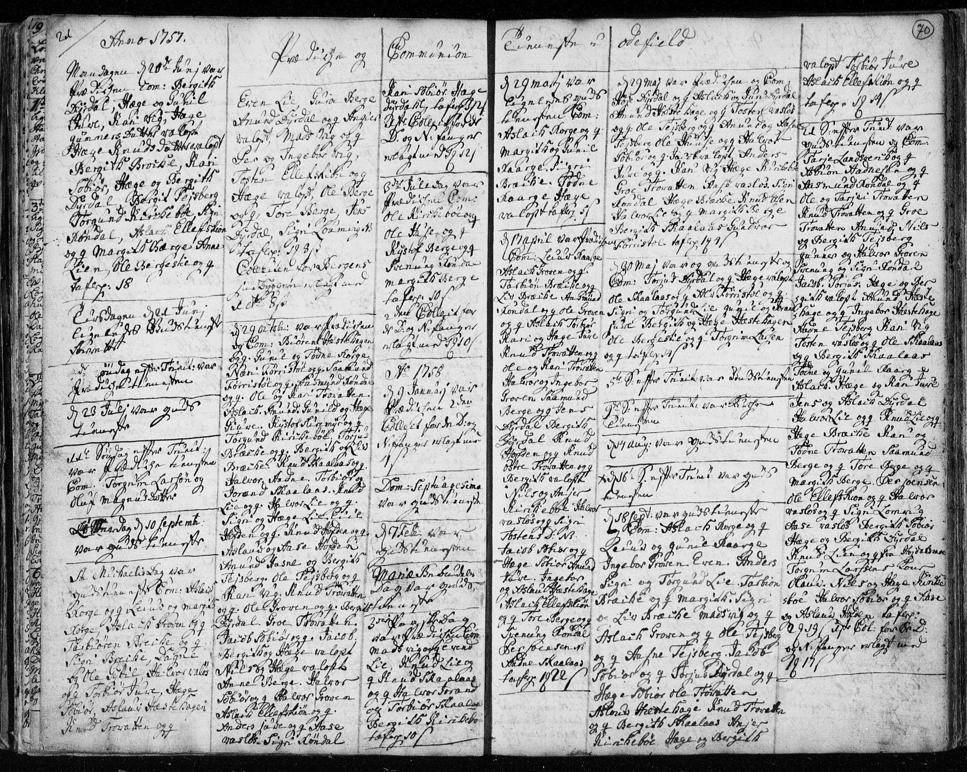 SAKO, Lårdal kirkebøker, F/Fa/L0003: Ministerialbok nr. I 3, 1754-1790, s. 70