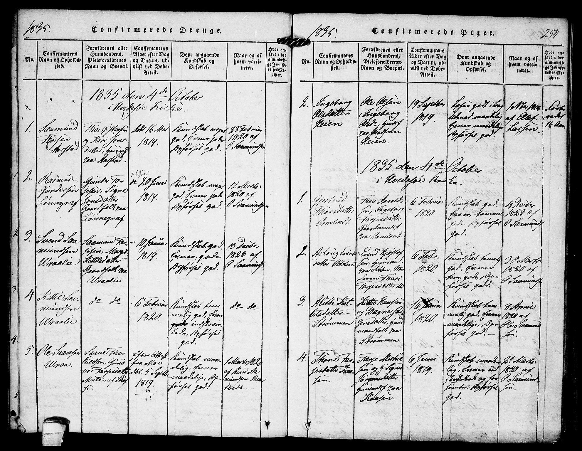 SAKO, Kviteseid kirkebøker, F/Fc/L0001: Ministerialbok nr. III 1, 1815-1836, s. 254