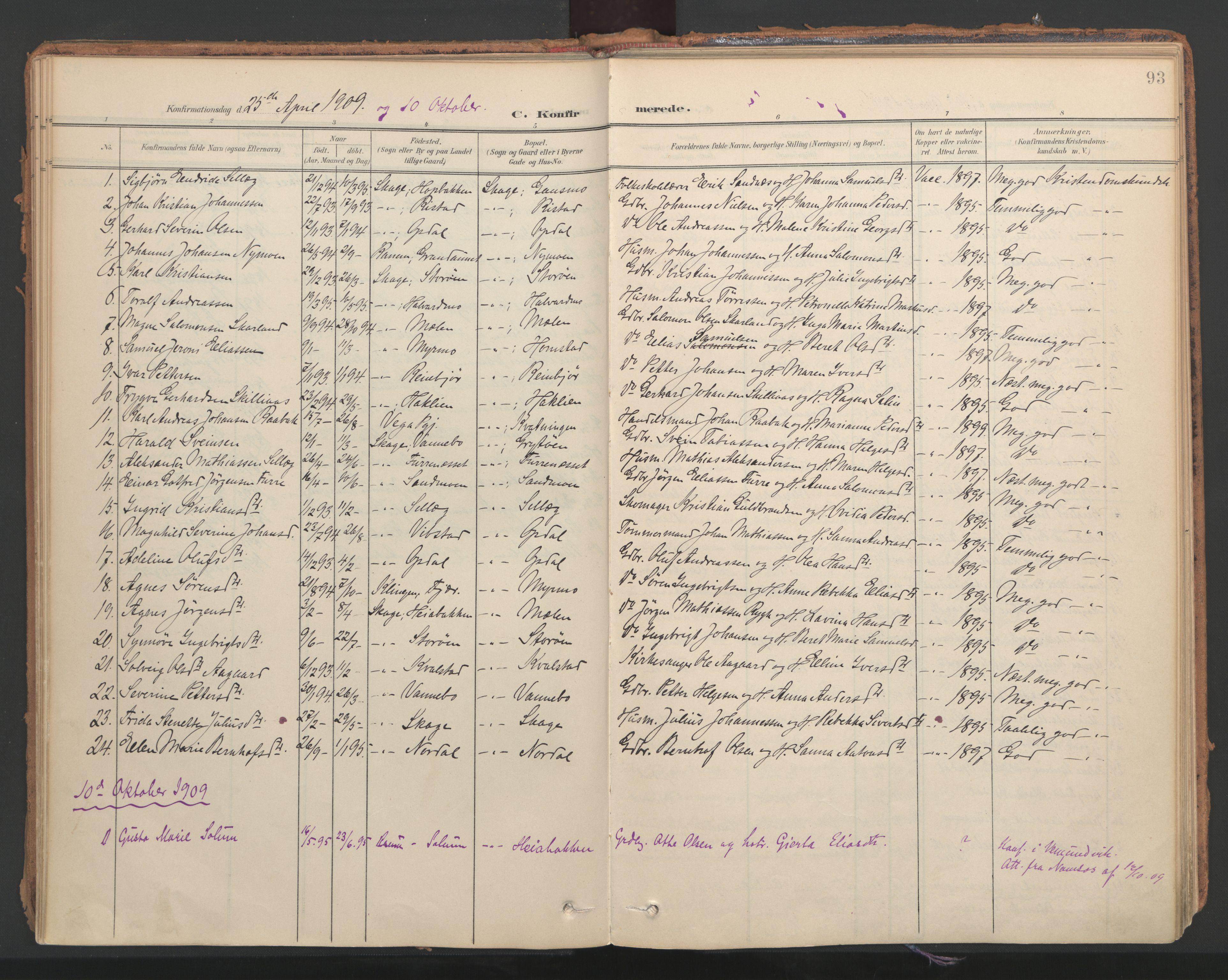 SAT, Ministerialprotokoller, klokkerbøker og fødselsregistre - Nord-Trøndelag, 766/L0564: Ministerialbok nr. 767A02, 1900-1932, s. 93