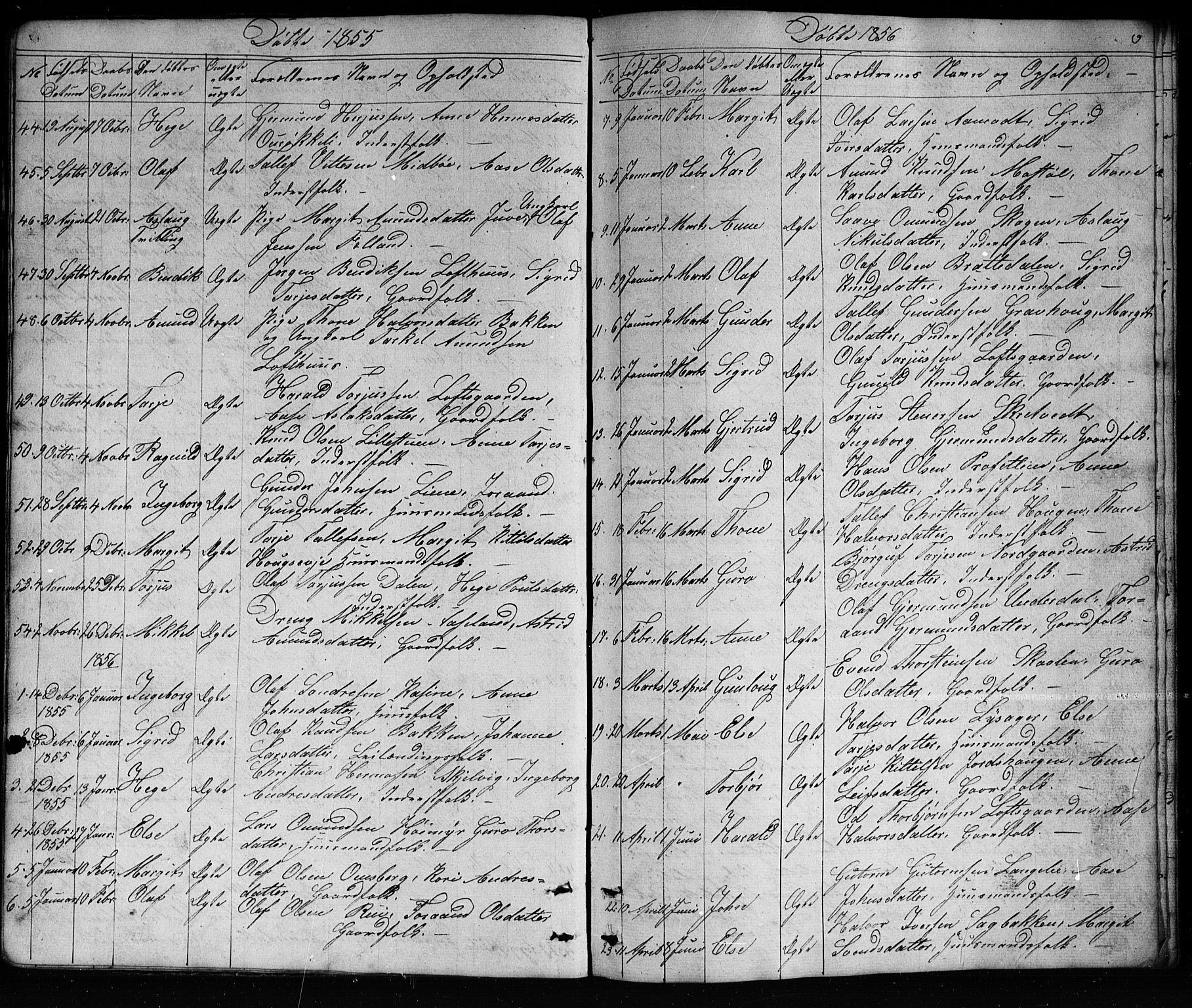 SAKO, Mo kirkebøker, G/Ga/L0001: Klokkerbok nr. I 1, 1851-1891, s. 9