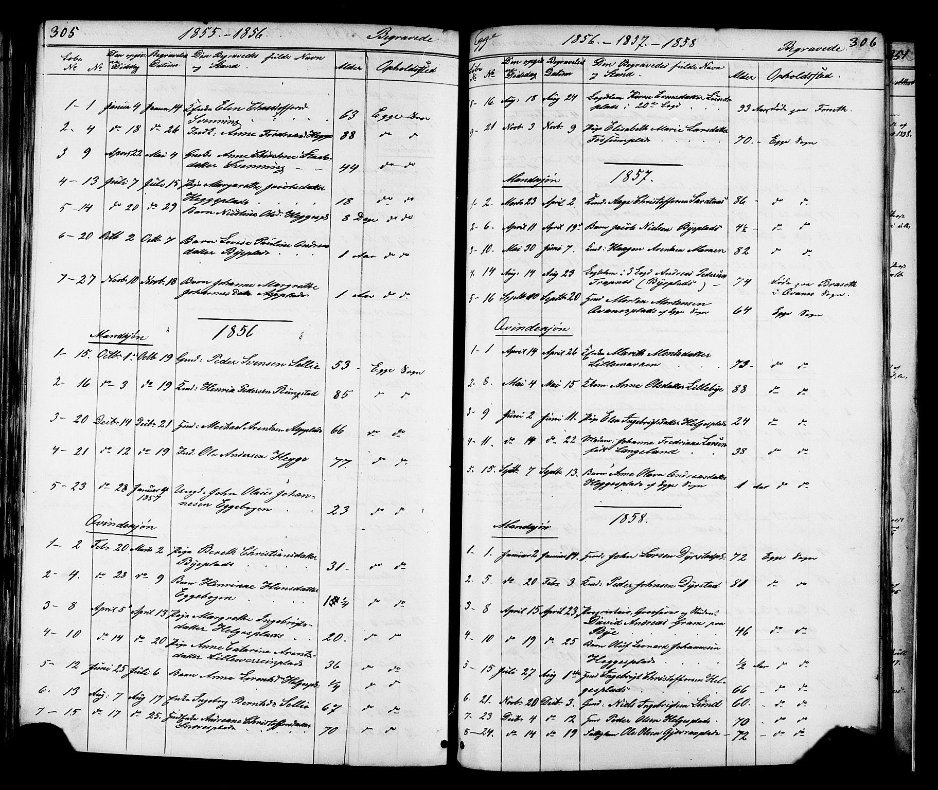 SAT, Ministerialprotokoller, klokkerbøker og fødselsregistre - Nord-Trøndelag, 739/L0367: Ministerialbok nr. 739A01 /3, 1838-1868, s. 305-306