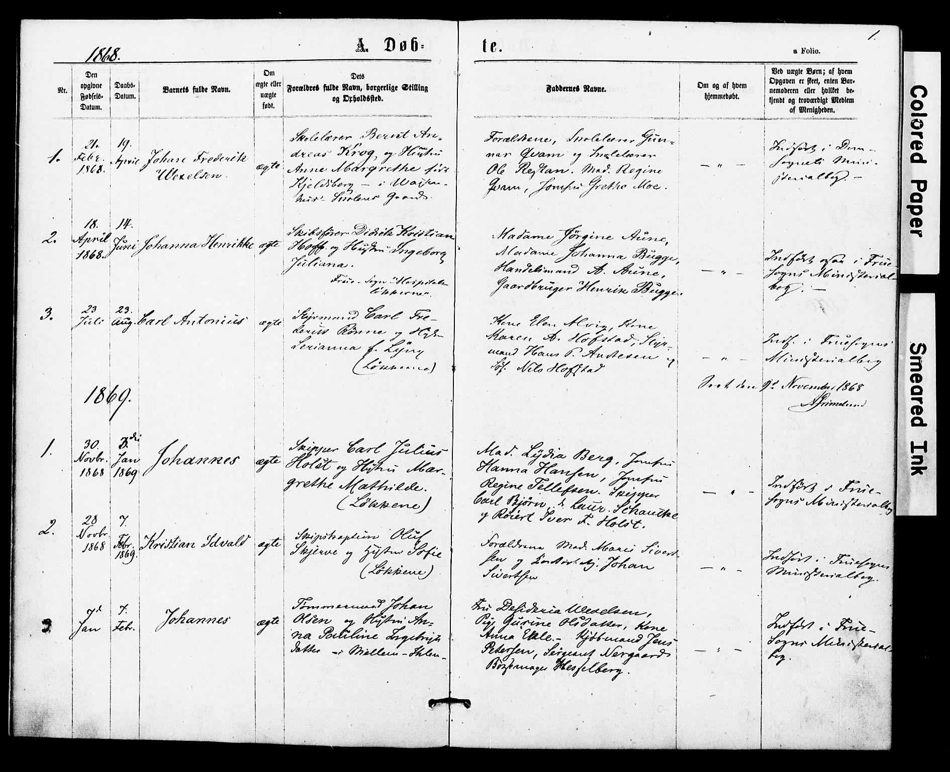 SAT, Ministerialprotokoller, klokkerbøker og fødselsregistre - Sør-Trøndelag, 623/L0469: Ministerialbok nr. 623A03, 1868-1883, s. 1