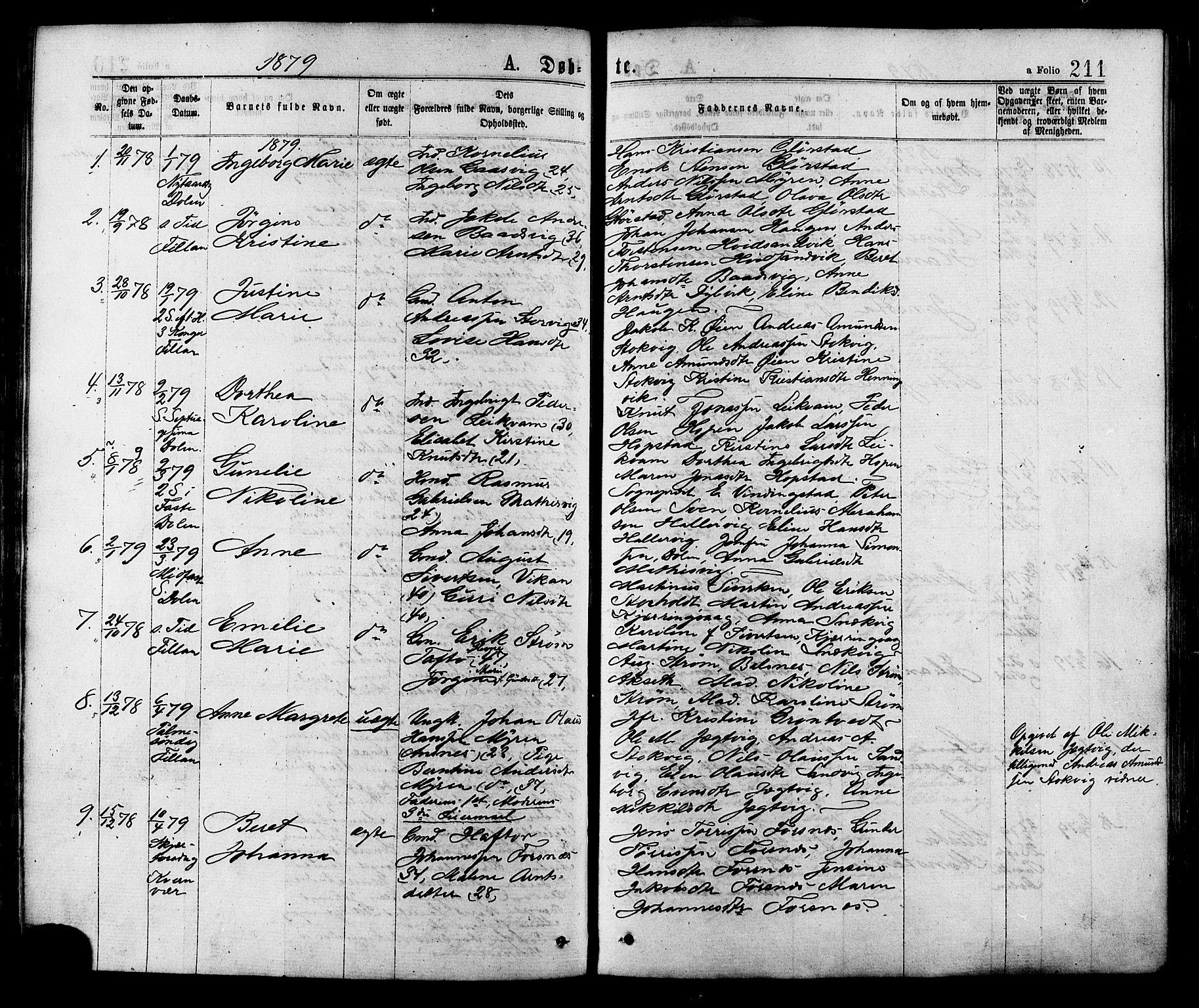 SAT, Ministerialprotokoller, klokkerbøker og fødselsregistre - Sør-Trøndelag, 634/L0532: Ministerialbok nr. 634A08, 1871-1881, s. 211