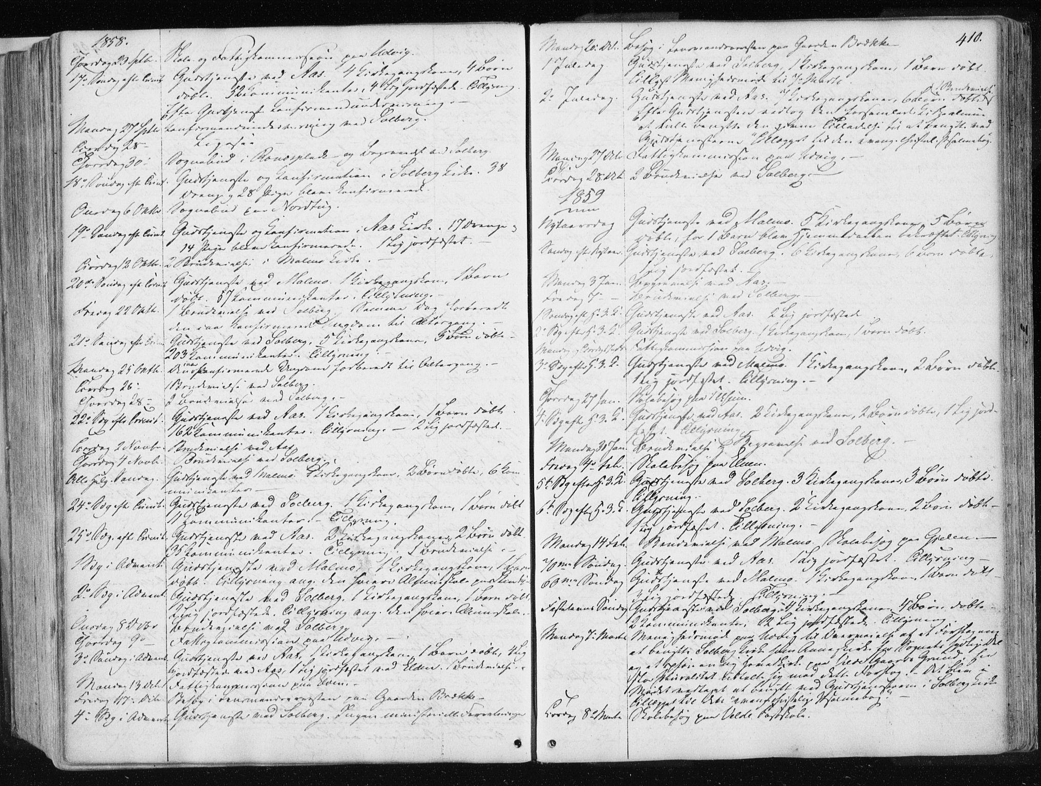 SAT, Ministerialprotokoller, klokkerbøker og fødselsregistre - Nord-Trøndelag, 741/L0393: Ministerialbok nr. 741A07, 1849-1863, s. 410