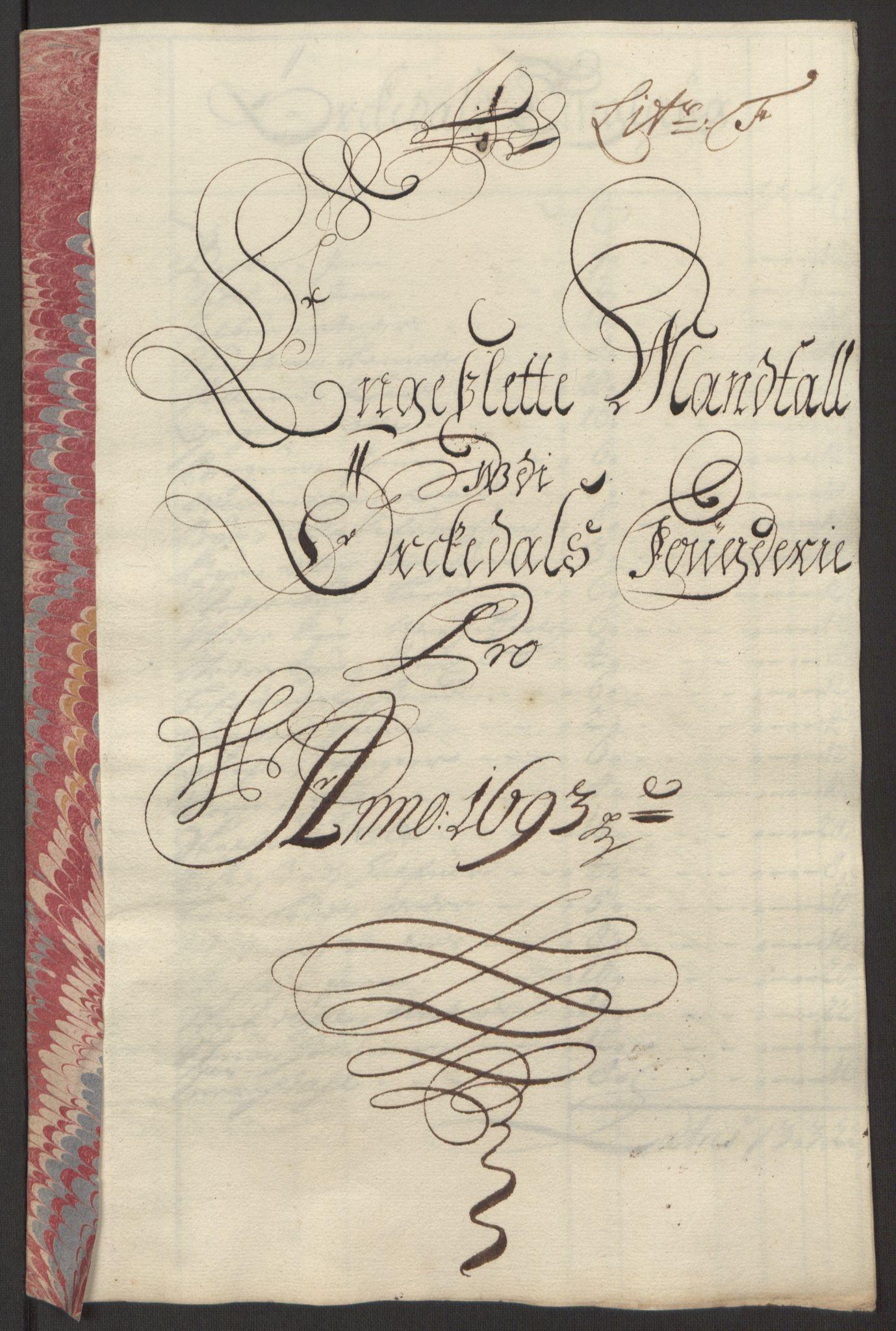 RA, Rentekammeret inntil 1814, Reviderte regnskaper, Fogderegnskap, R58/L3938: Fogderegnskap Orkdal, 1693, s. 121