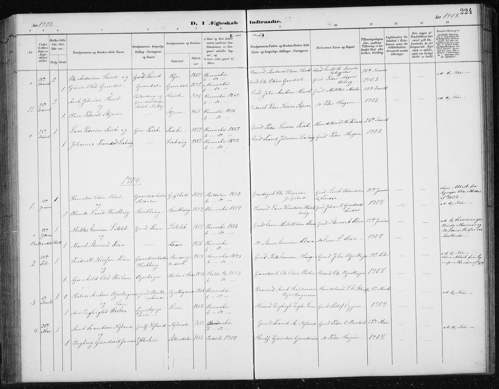 SAT, Ministerialprotokoller, klokkerbøker og fødselsregistre - Sør-Trøndelag, 674/L0876: Klokkerbok nr. 674C03, 1892-1912, s. 224