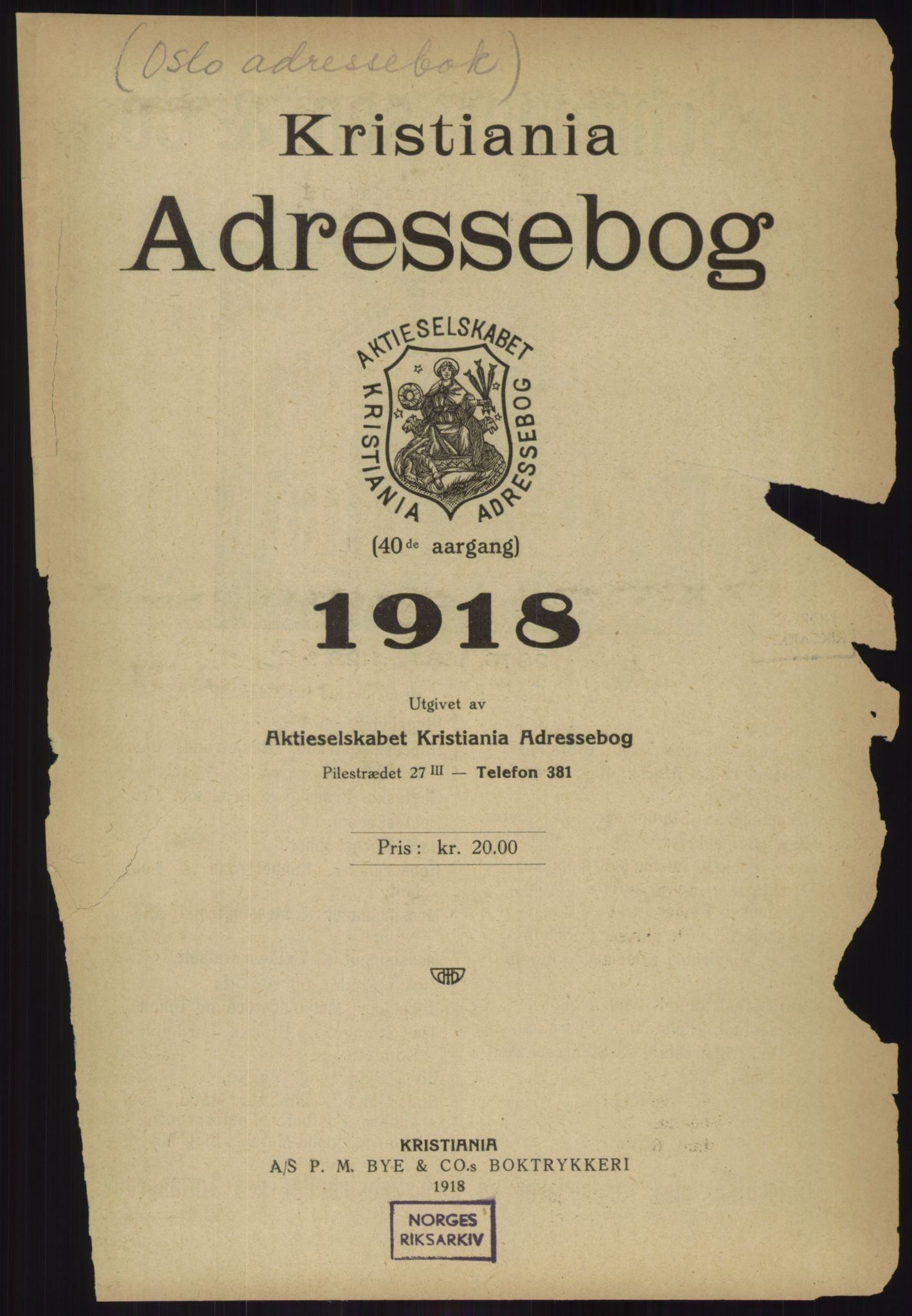 RA, Kristiania adressebok (publikasjon)*, 1918, s. 13