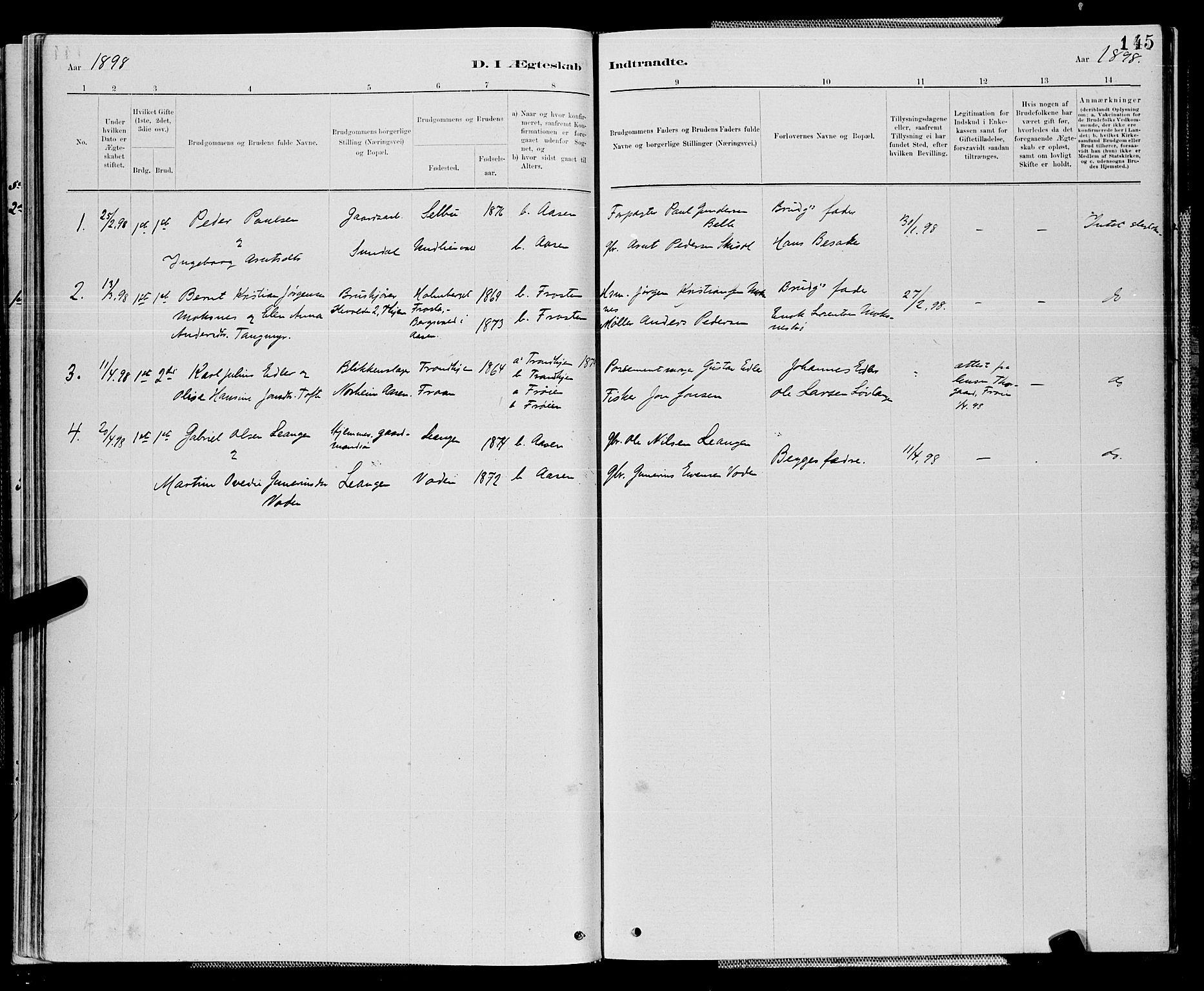 SAT, Ministerialprotokoller, klokkerbøker og fødselsregistre - Nord-Trøndelag, 714/L0134: Klokkerbok nr. 714C03, 1878-1898, s. 145