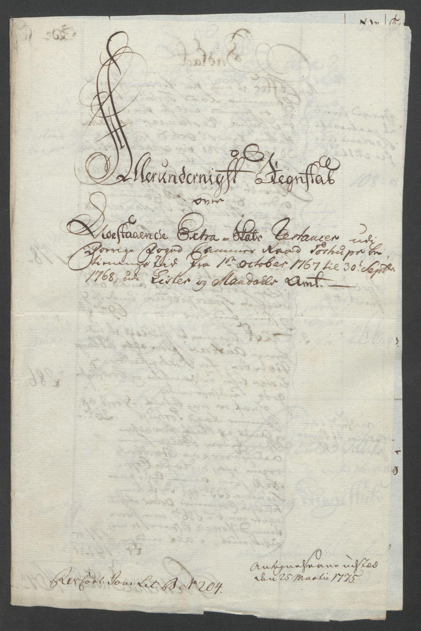 RA, Rentekammeret inntil 1814, Reviderte regnskaper, Fogderegnskap, R45/L2704: Ekstraskatten Lista og Mandal, 1762-1768, s. 410