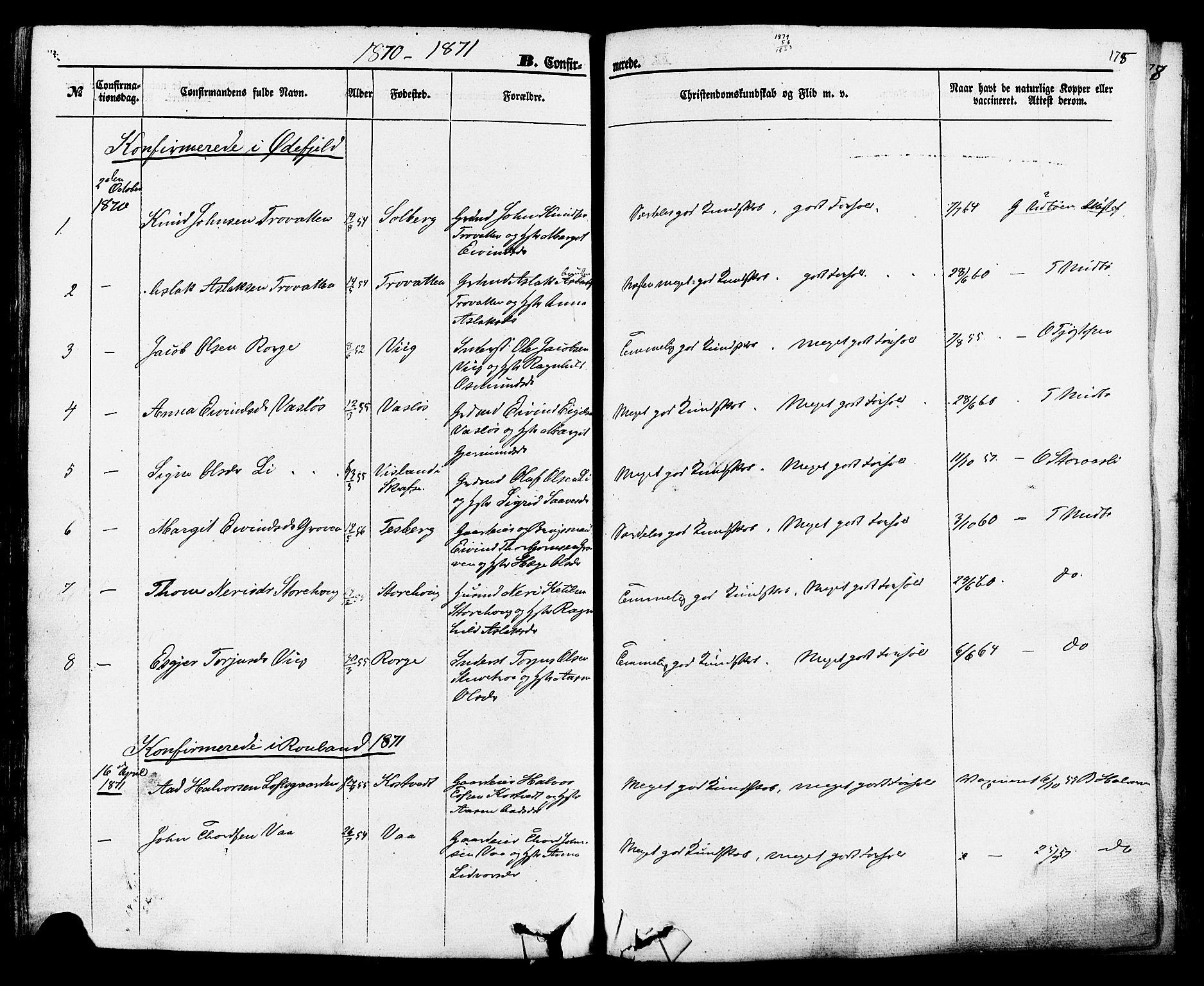 SAKO, Rauland kirkebøker, F/Fa/L0003: Ministerialbok nr. 3, 1859-1886, s. 175