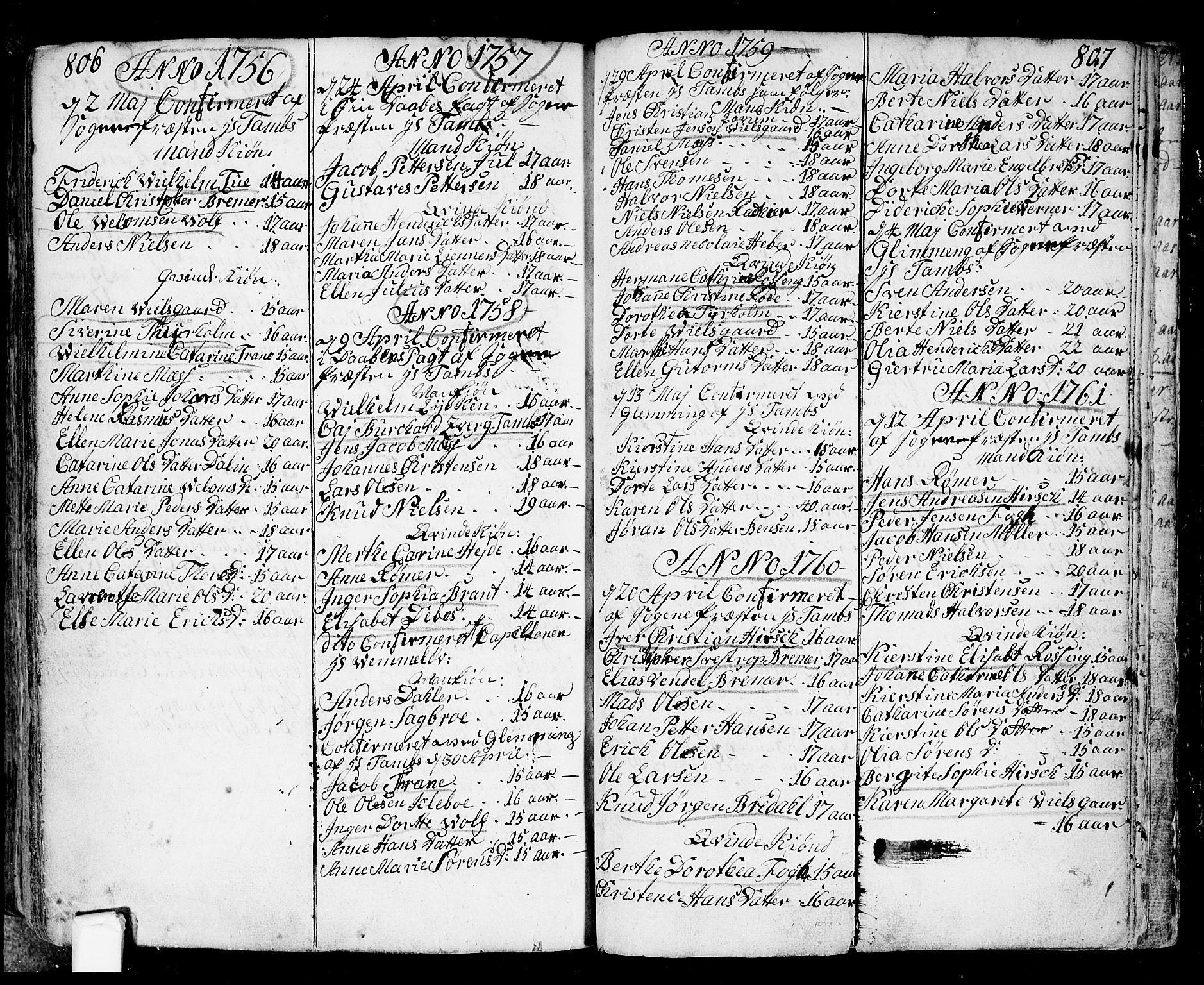 SAO, Fredrikstad prestekontor Kirkebøker, F/Fa/L0002: Ministerialbok nr. 2, 1750-1804, s. 806-807