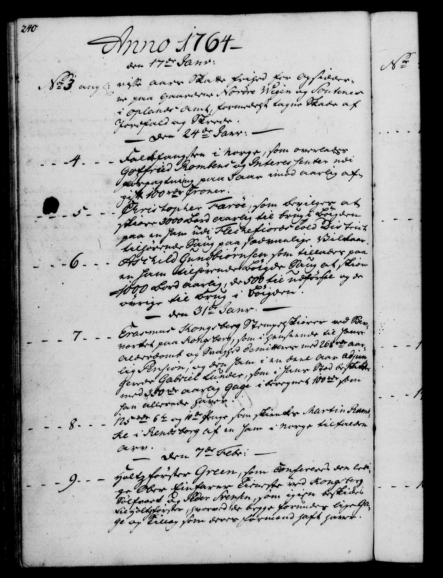 RA, Rentekammeret, Kammerkanselliet, G/Gf/Gfb/L0006: Register til norske relasjons- og resolusjonsprotokoller (merket RK 52.101), 1755-1765, s. 240