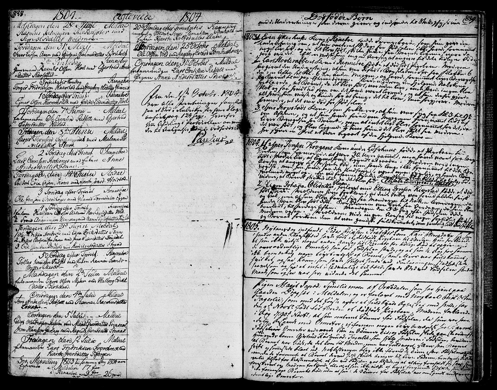 SAT, Ministerialprotokoller, klokkerbøker og fødselsregistre - Sør-Trøndelag, 672/L0852: Ministerialbok nr. 672A05, 1776-1815, s. 838-839
