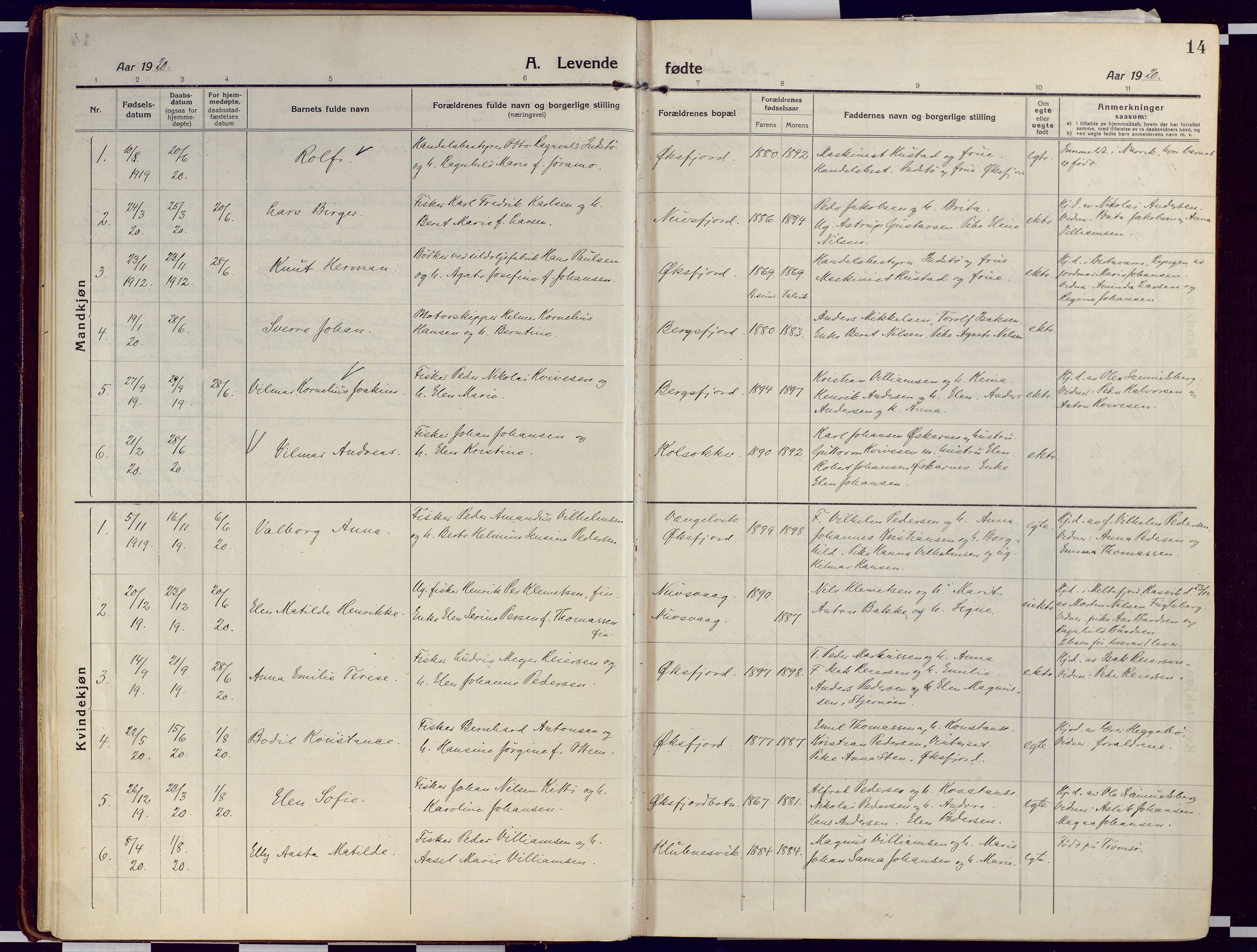SATØ, Loppa sokneprestkontor, H/Ha/L0012kirke: Ministerialbok nr. 12, 1917-1932, s. 14