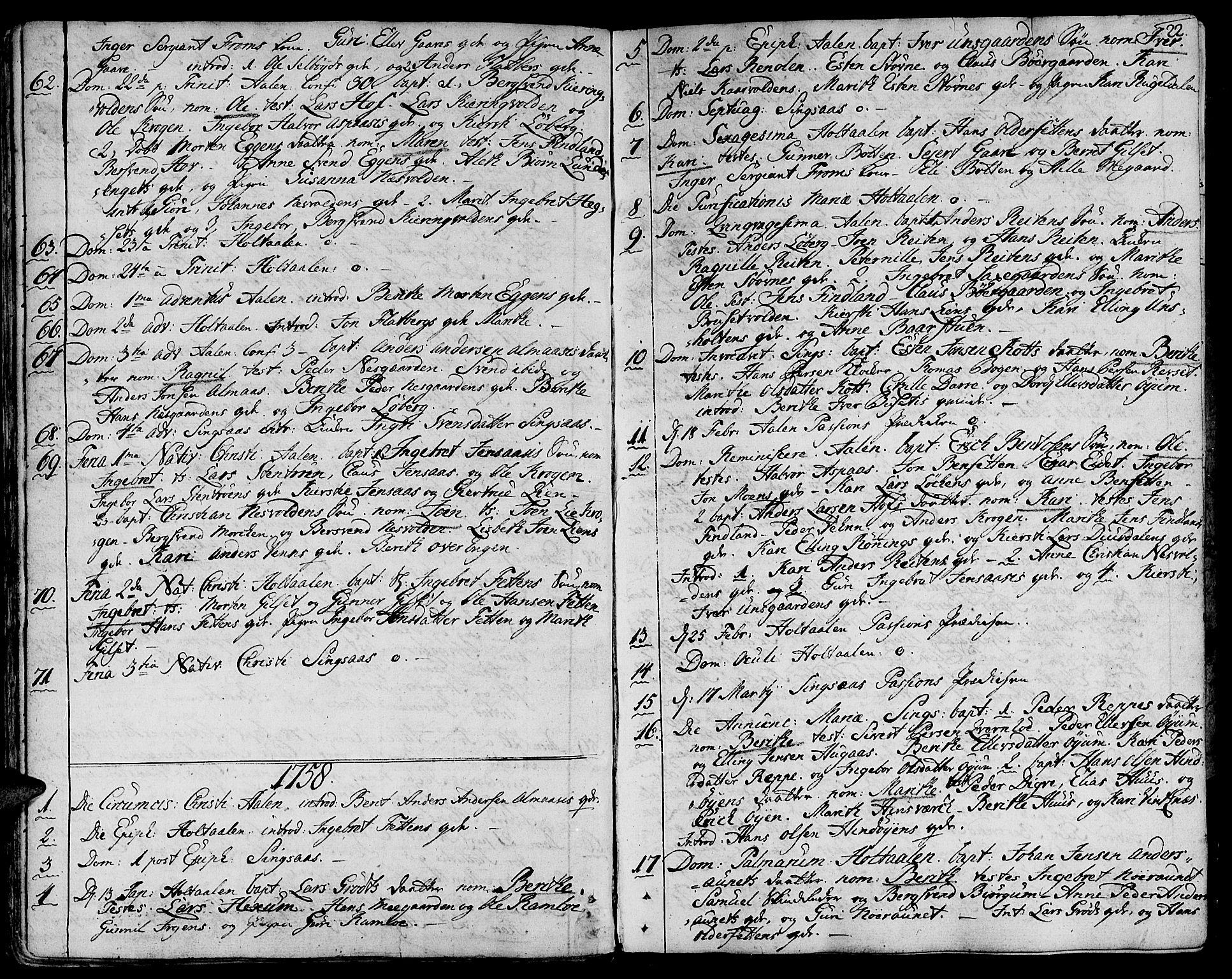 SAT, Ministerialprotokoller, klokkerbøker og fødselsregistre - Sør-Trøndelag, 685/L0952: Ministerialbok nr. 685A01, 1745-1804, s. 22