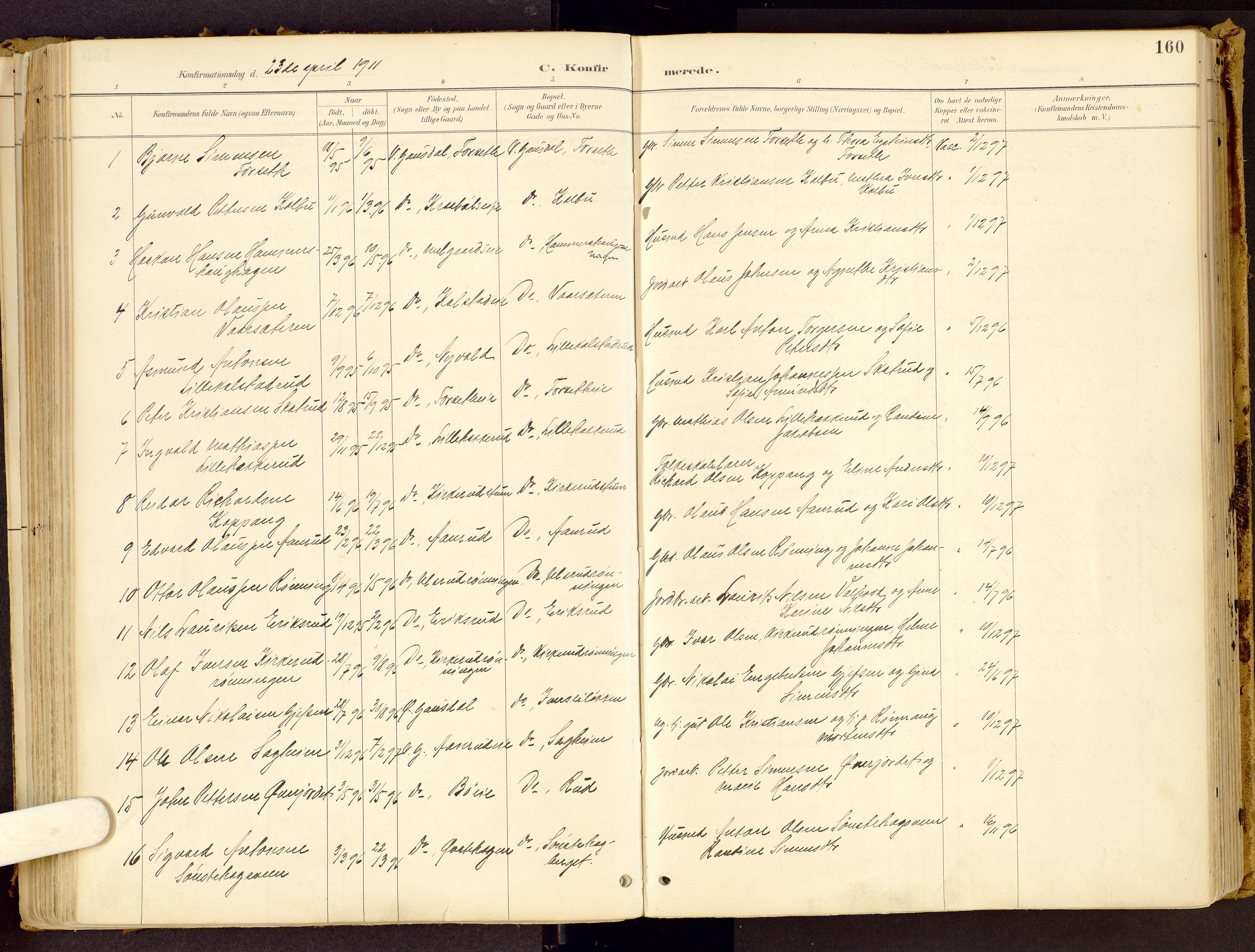 SAH, Vestre Gausdal prestekontor, Ministerialbok nr. 1, 1887-1914, s. 160