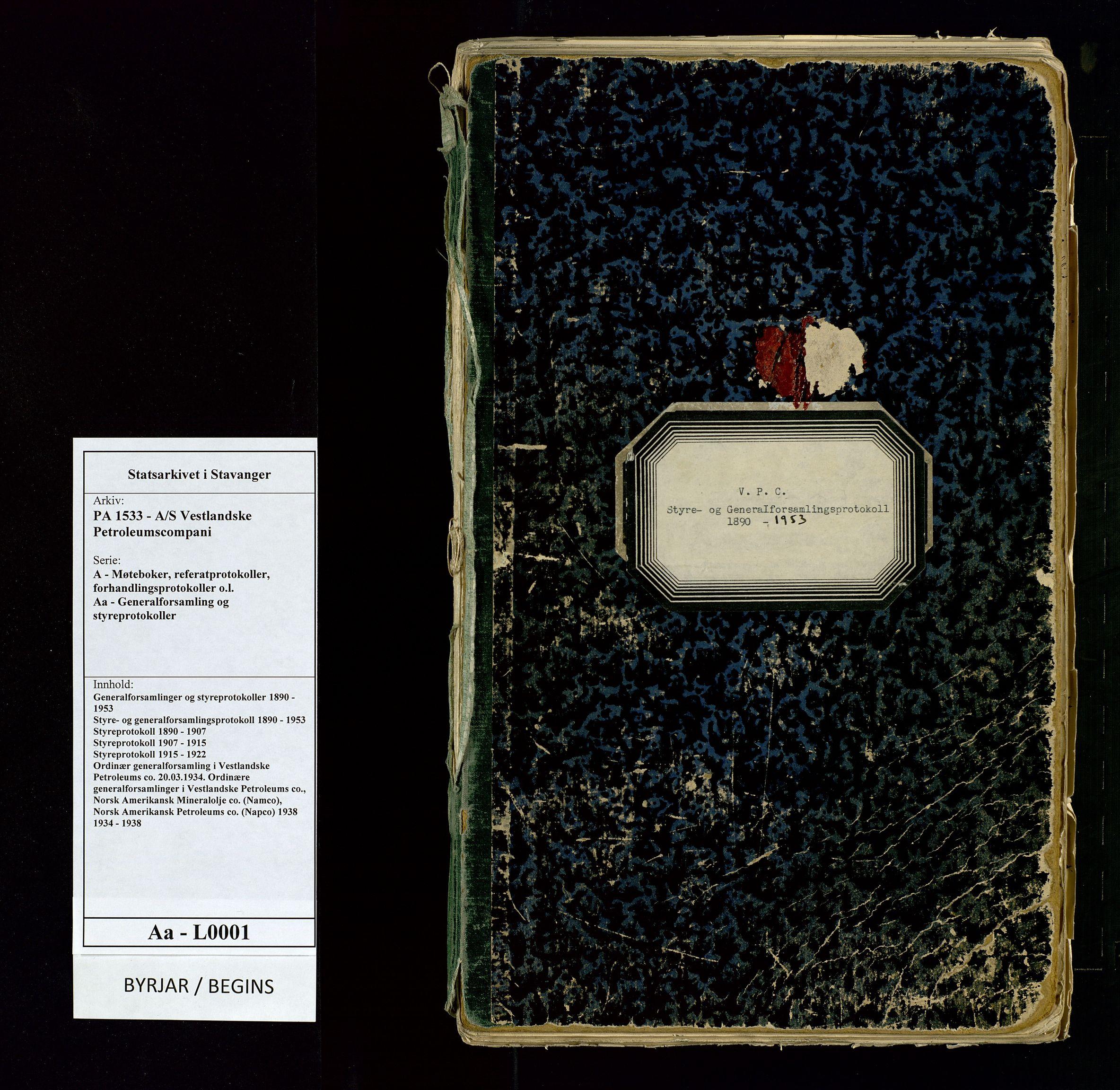 SAST, PA 1533 - A/S Vestlandske Petroleumscompani, A/Aa/L0001: Generalforsamlinger og styreprotokoller, 1890-1953, s. 1