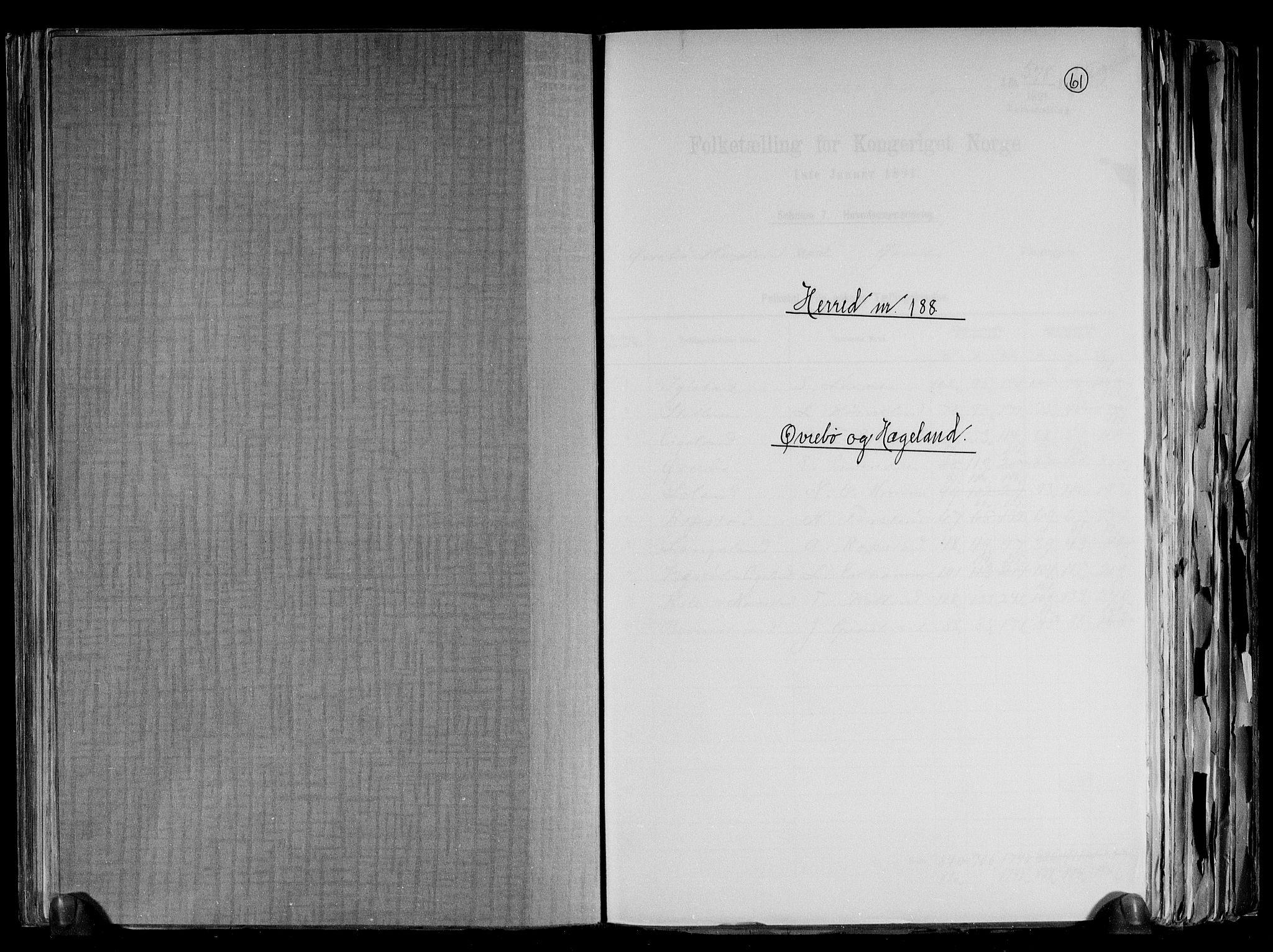 RA, Folketelling 1891 for 1016 Øvrebø og Hægeland herred, 1891, s. 1