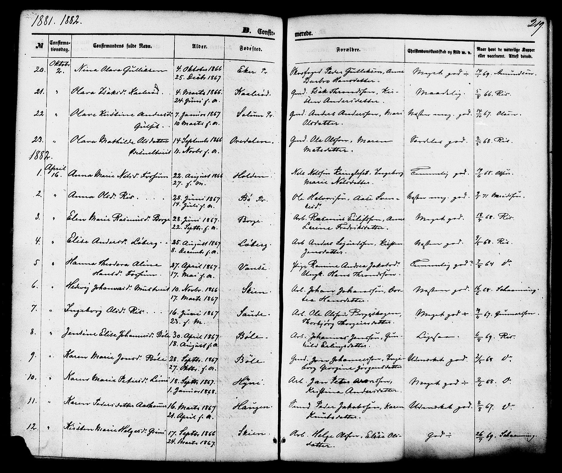 SAKO, Gjerpen kirkebøker, F/Fa/L0009: Ministerialbok nr. 9, 1872-1885, s. 219