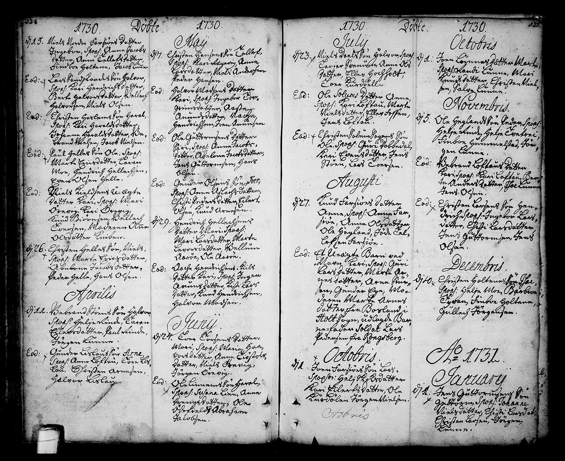 SAKO, Sannidal kirkebøker, F/Fa/L0001: Ministerialbok nr. 1, 1702-1766, s. 134-135