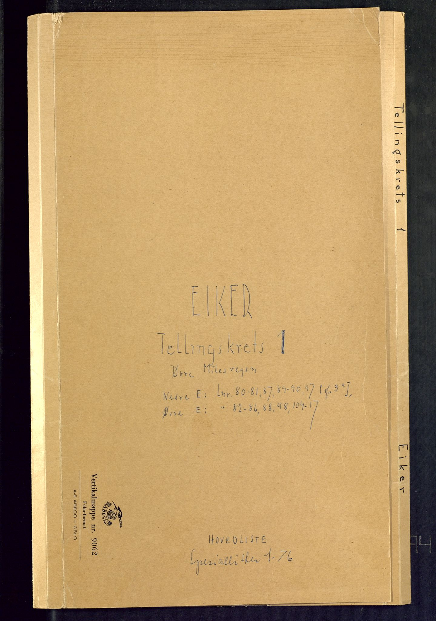 SAKO, Folketelling 1875 for 0624P Eiker prestegjeld, 1875, s. 1
