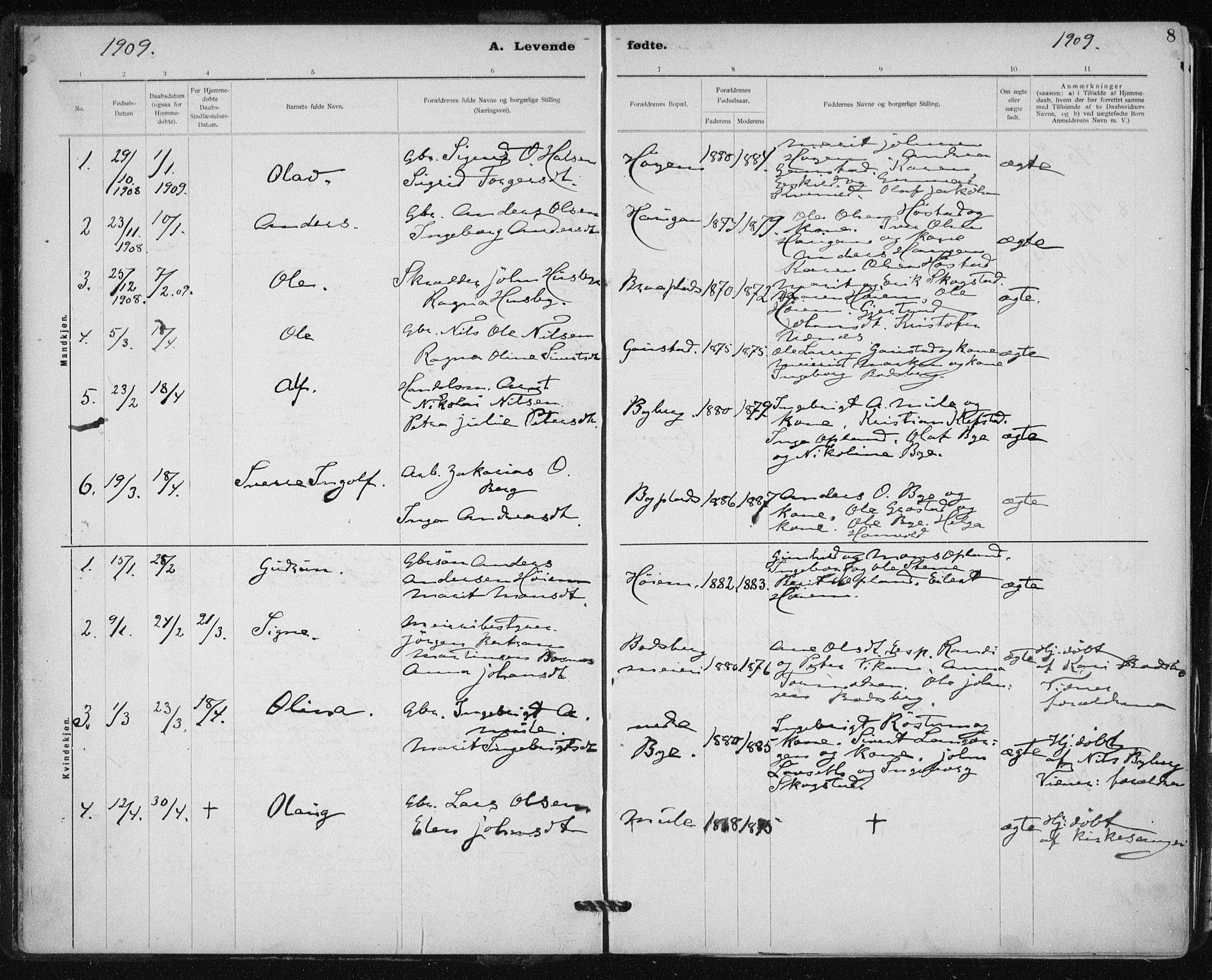 SAT, Ministerialprotokoller, klokkerbøker og fødselsregistre - Sør-Trøndelag, 612/L0381: Ministerialbok nr. 612A13, 1907-1923, s. 8