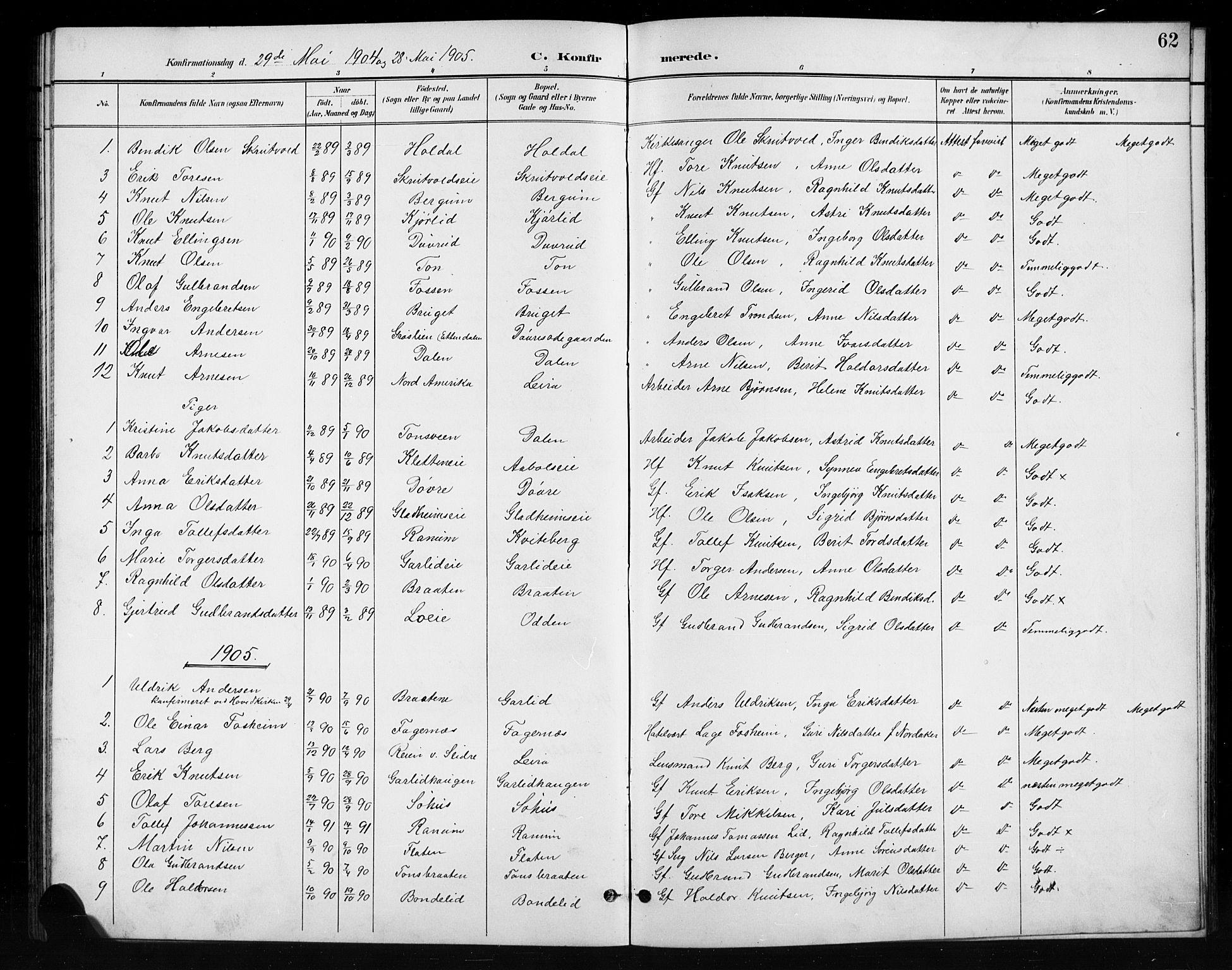 SAH, Nord-Aurdal prestekontor, Klokkerbok nr. 11, 1897-1918, s. 62