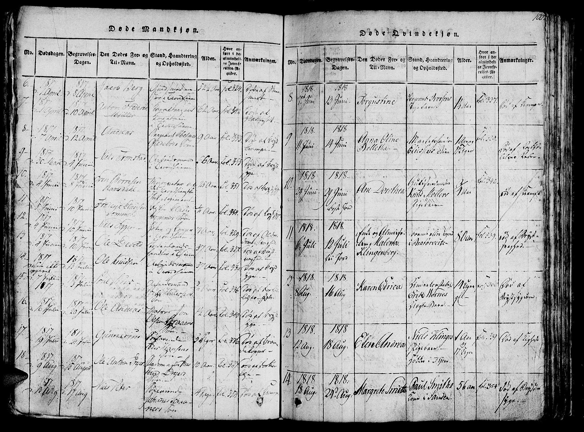 SAT, Ministerialprotokoller, klokkerbøker og fødselsregistre - Sør-Trøndelag, 602/L0135: Klokkerbok nr. 602C03, 1815-1832, s. 100