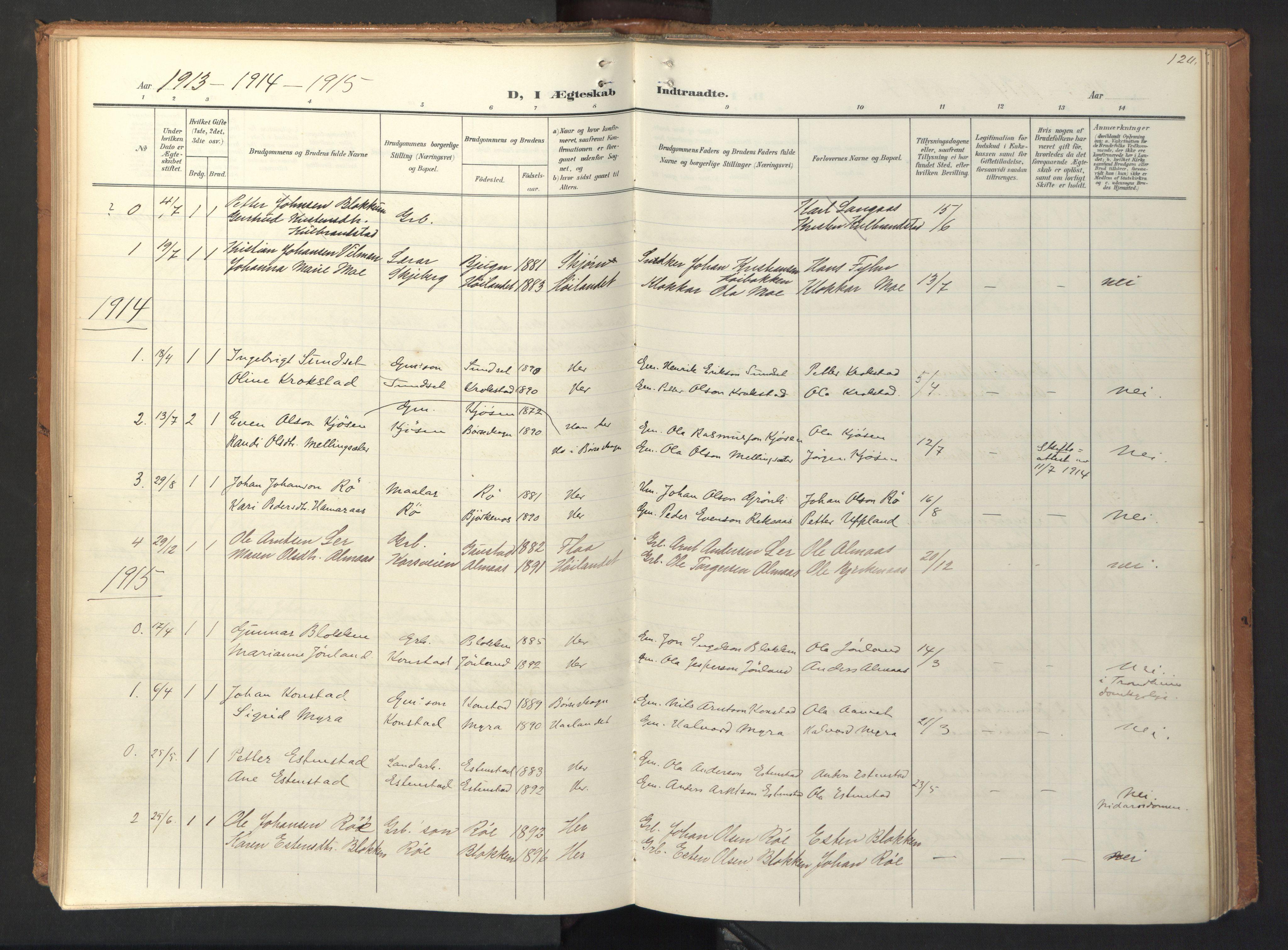 SAT, Ministerialprotokoller, klokkerbøker og fødselsregistre - Sør-Trøndelag, 694/L1128: Ministerialbok nr. 694A02, 1906-1931, s. 120
