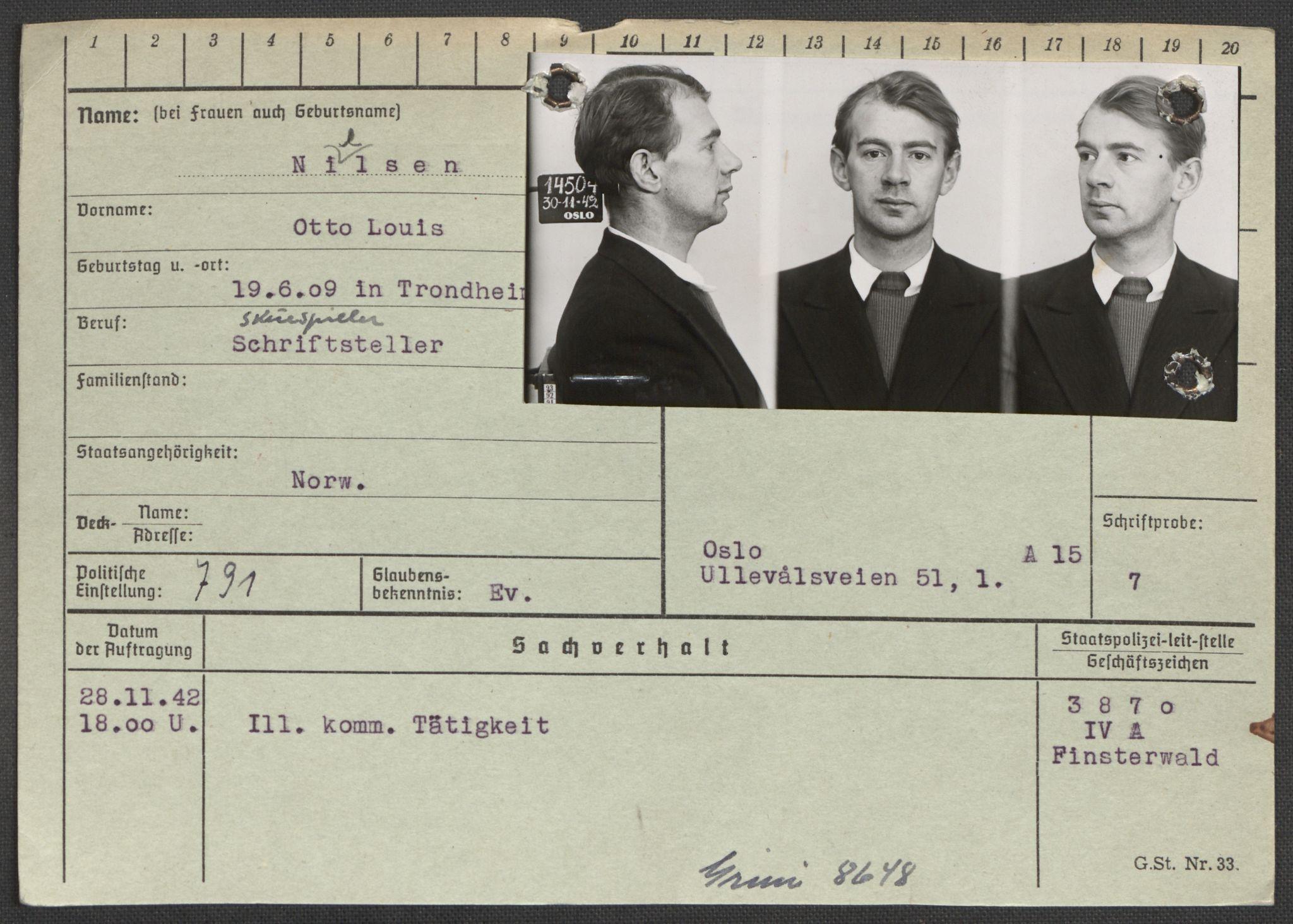 RA, Befehlshaber der Sicherheitspolizei und des SD, E/Ea/Eaa/L0007: Register over norske fanger i Møllergata 19: Lundb-N, 1940-1945, s. 1118