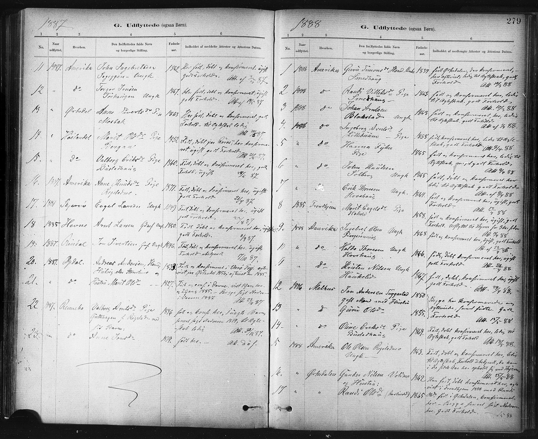 SAT, Ministerialprotokoller, klokkerbøker og fødselsregistre - Sør-Trøndelag, 672/L0857: Ministerialbok nr. 672A09, 1882-1893, s. 279