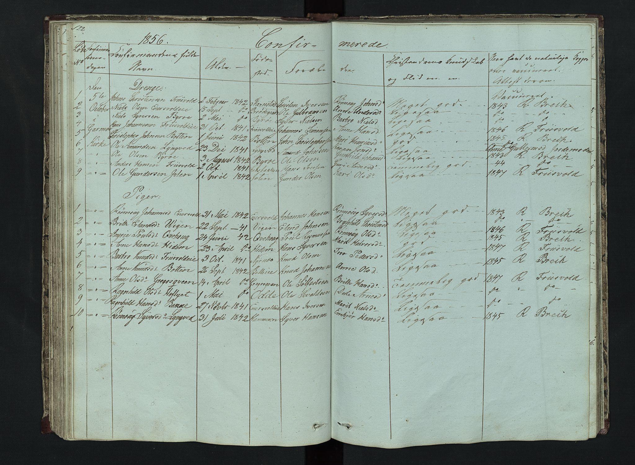SAH, Lom prestekontor, L/L0014: Klokkerbok nr. 14, 1845-1876, s. 122-123