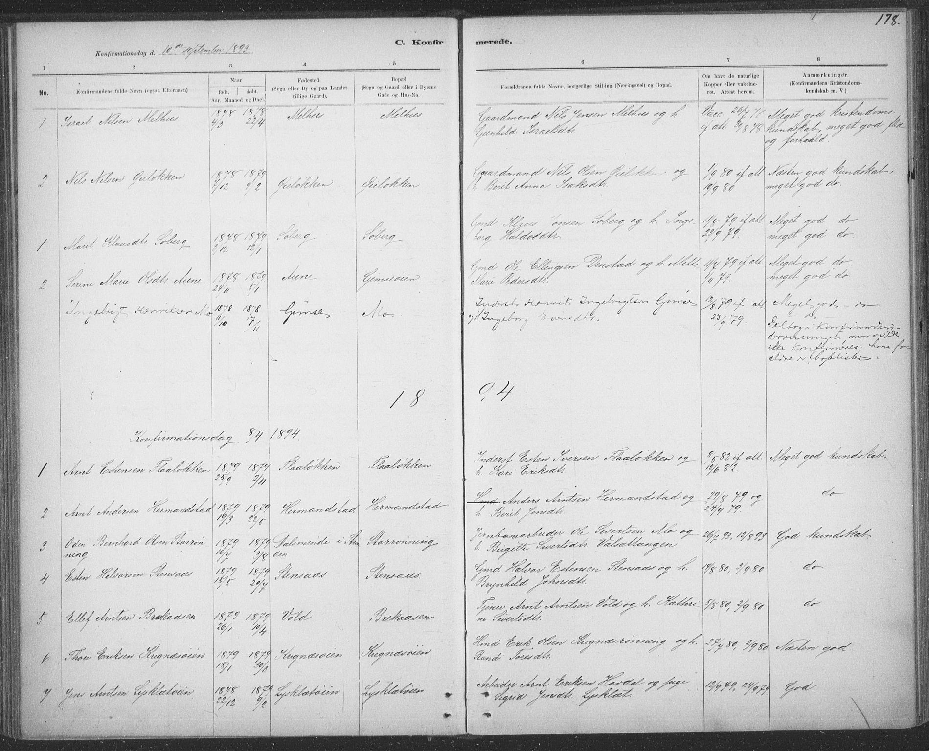 SAT, Ministerialprotokoller, klokkerbøker og fødselsregistre - Sør-Trøndelag, 691/L1085: Ministerialbok nr. 691A17, 1887-1908, s. 178