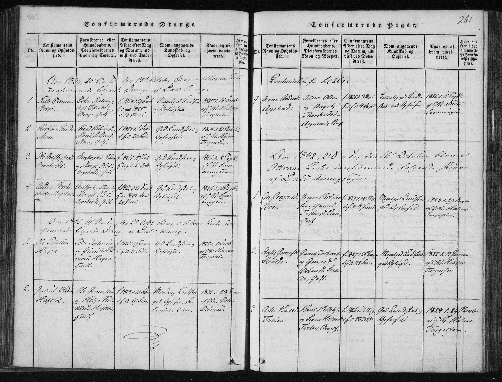 SAKO, Tinn kirkebøker, F/Fc/L0001: Ministerialbok nr. III 1, 1815-1843, s. 261