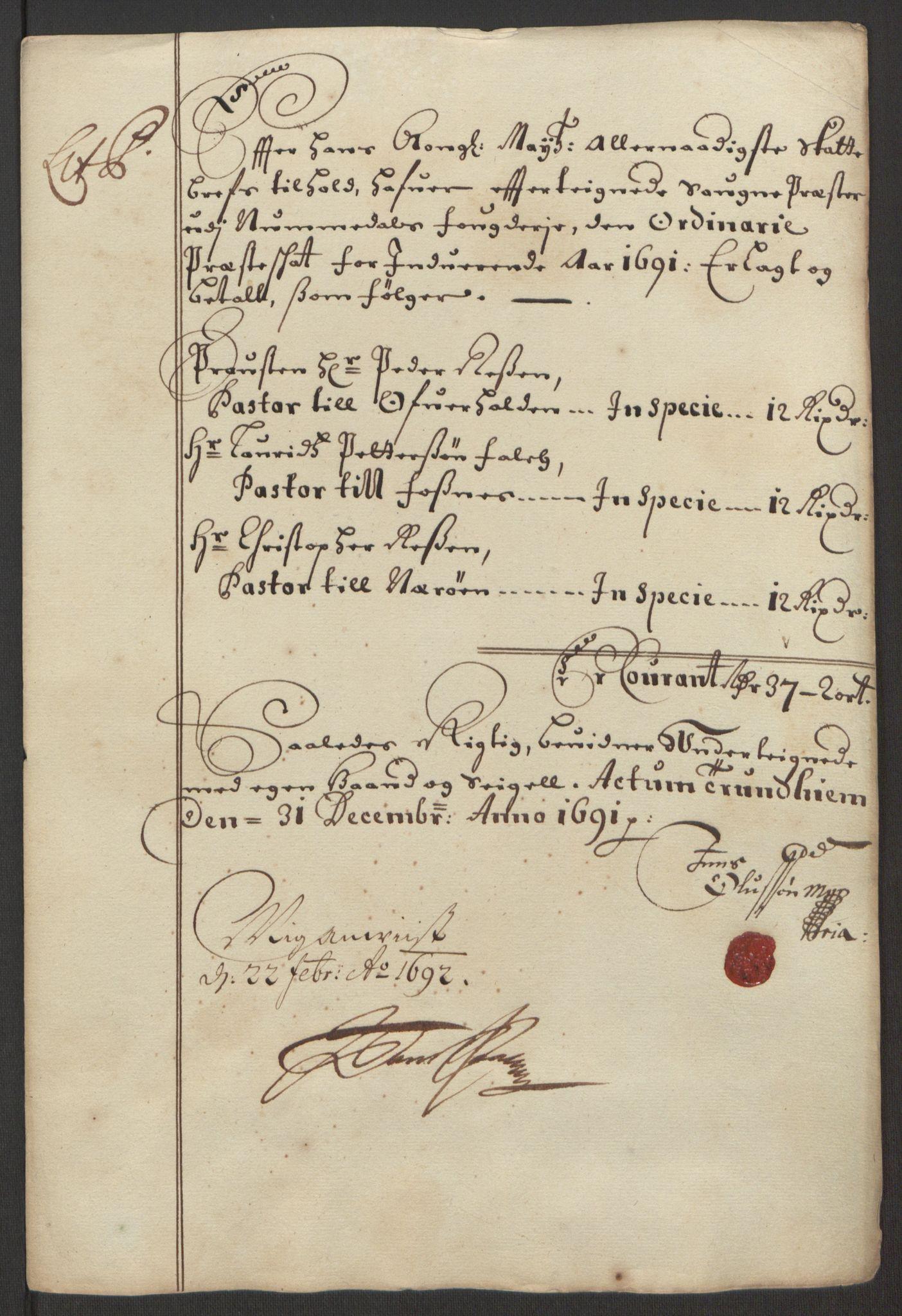 RA, Rentekammeret inntil 1814, Reviderte regnskaper, Fogderegnskap, R64/L4423: Fogderegnskap Namdal, 1690-1691, s. 306