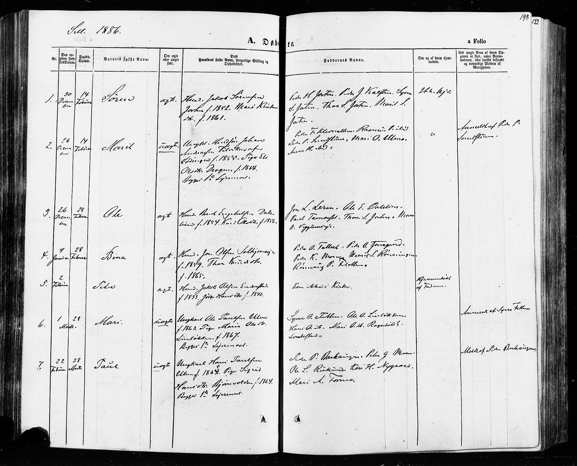 SAH, Vågå prestekontor, Ministerialbok nr. 7 /3, 1872-1886, s. 148