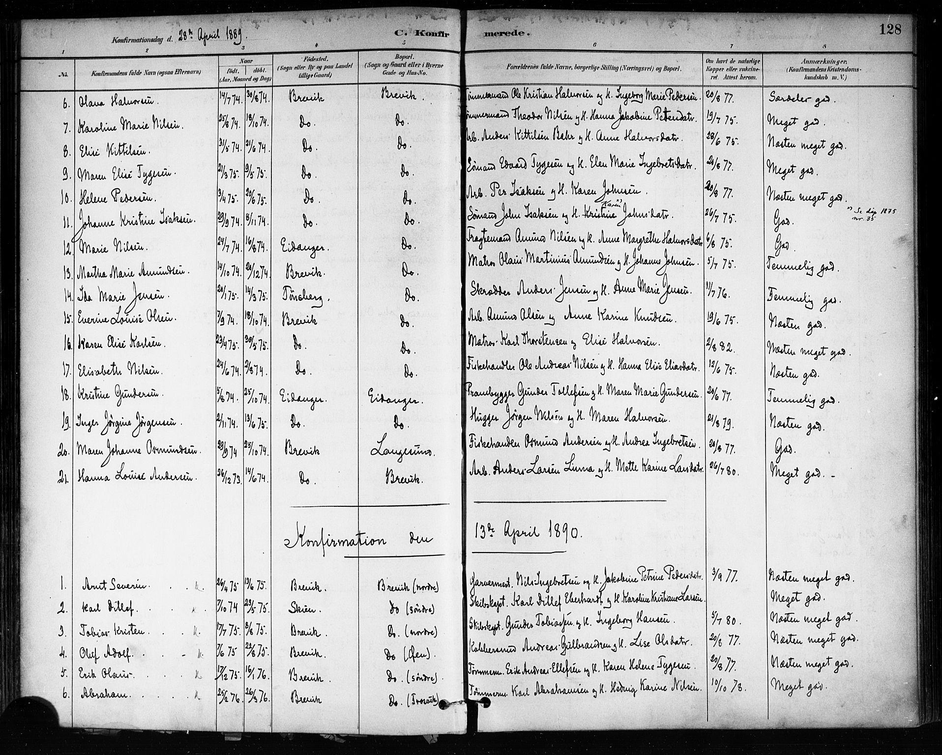 SAKO, Brevik kirkebøker, F/Fa/L0007: Ministerialbok nr. 7, 1882-1900, s. 128