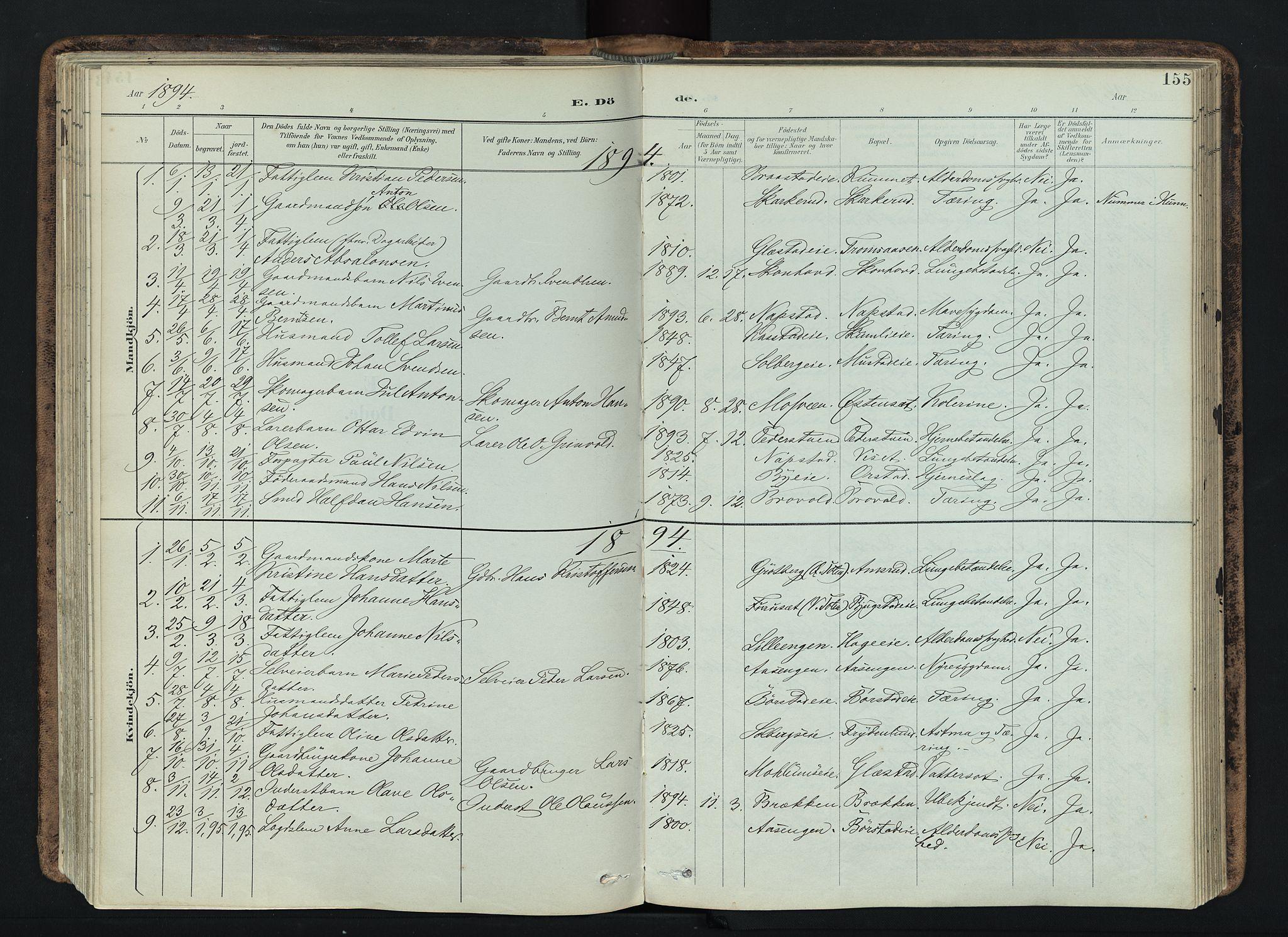 SAH, Vardal prestekontor, H/Ha/Haa/L0019: Ministerialbok nr. 19, 1893-1907, s. 155