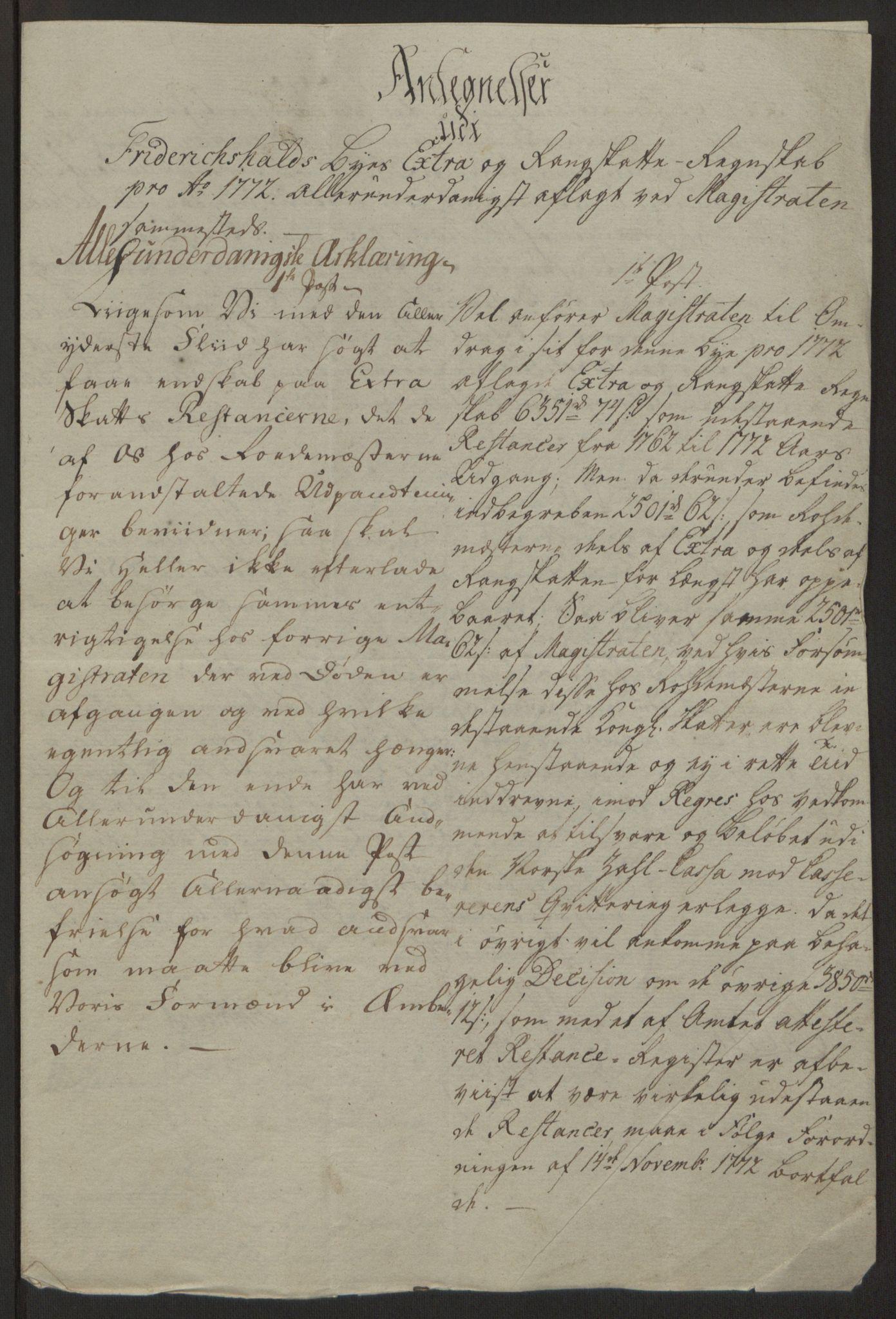 RA, Rentekammeret inntil 1814, Reviderte regnskaper, Byregnskaper, R/Ra/L0006: [A4] Kontribusjonsregnskap, 1762-1772, s. 342