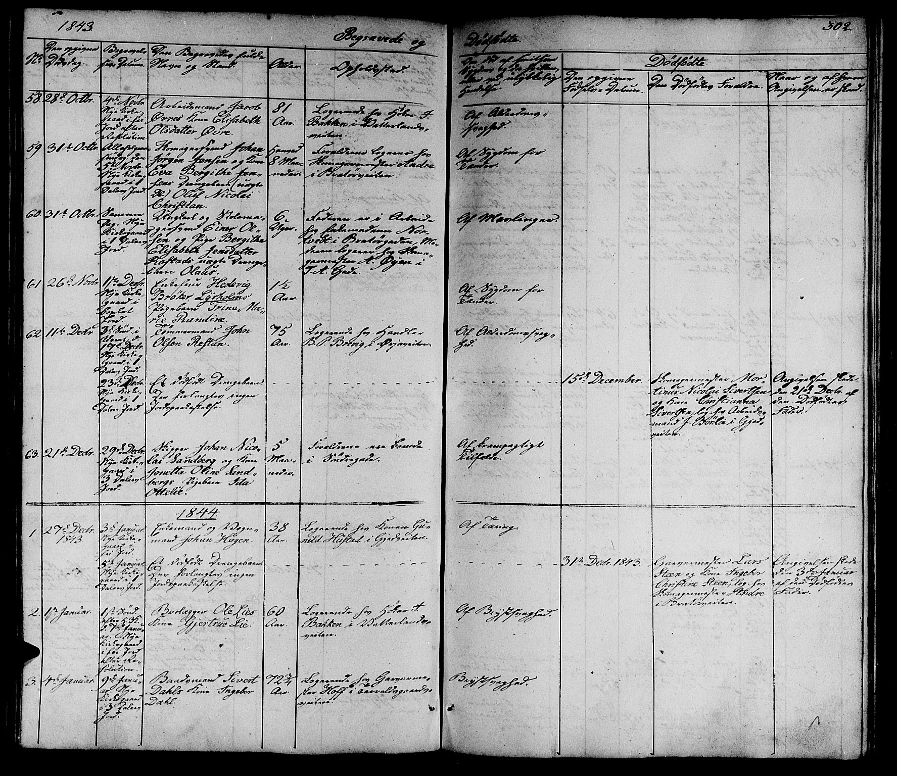 SAT, Ministerialprotokoller, klokkerbøker og fødselsregistre - Sør-Trøndelag, 602/L0136: Klokkerbok nr. 602C04, 1833-1845, s. 302