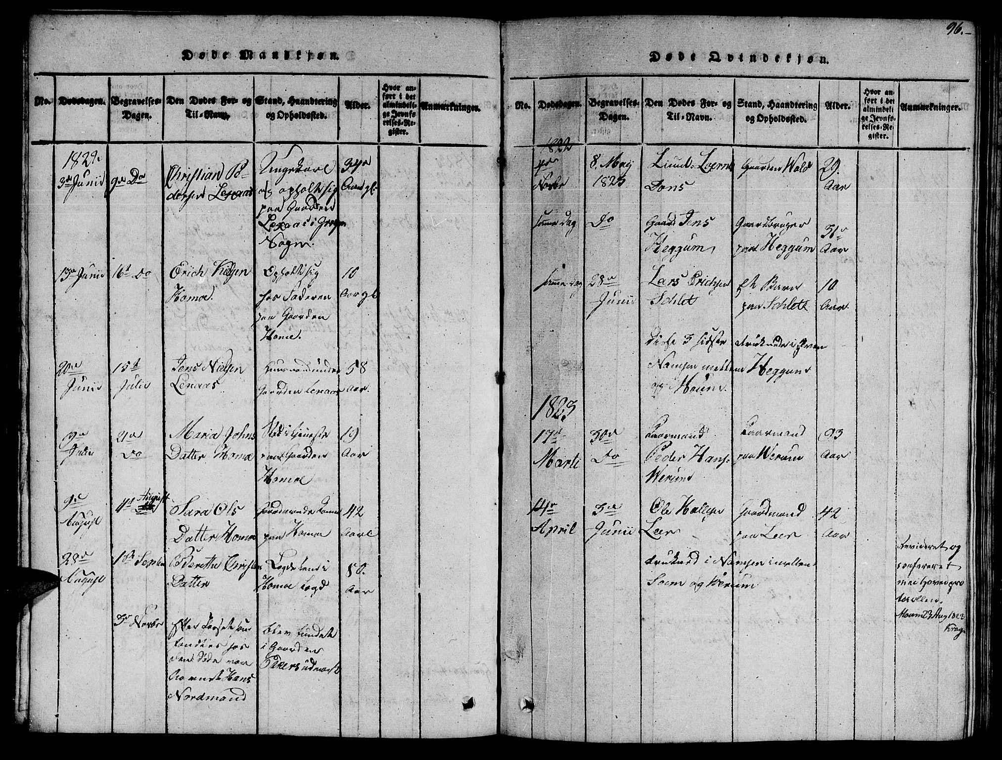 SAT, Ministerialprotokoller, klokkerbøker og fødselsregistre - Nord-Trøndelag, 758/L0521: Klokkerbok nr. 758C01, 1816-1825, s. 96