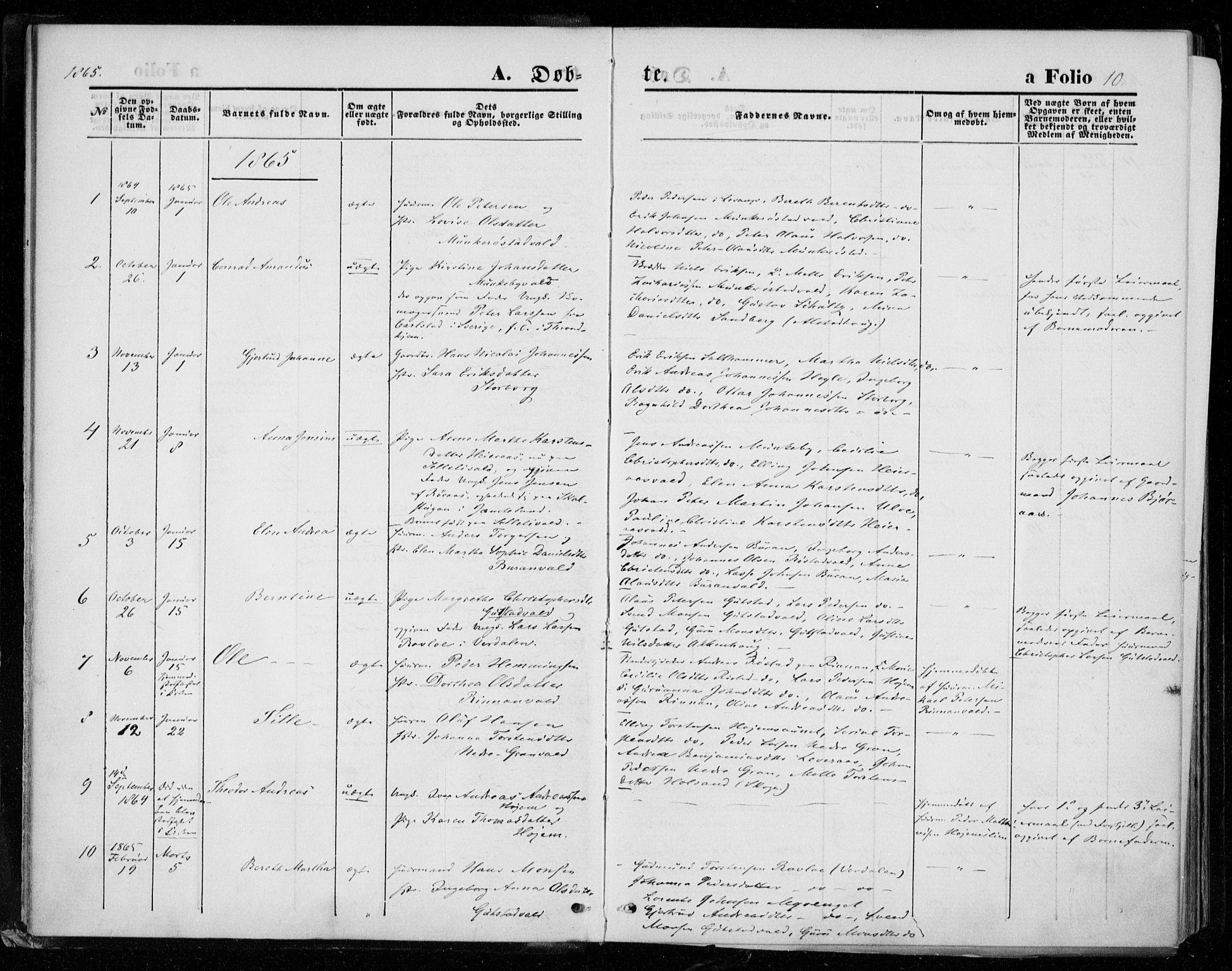 SAT, Ministerialprotokoller, klokkerbøker og fødselsregistre - Nord-Trøndelag, 721/L0206: Ministerialbok nr. 721A01, 1864-1874, s. 10