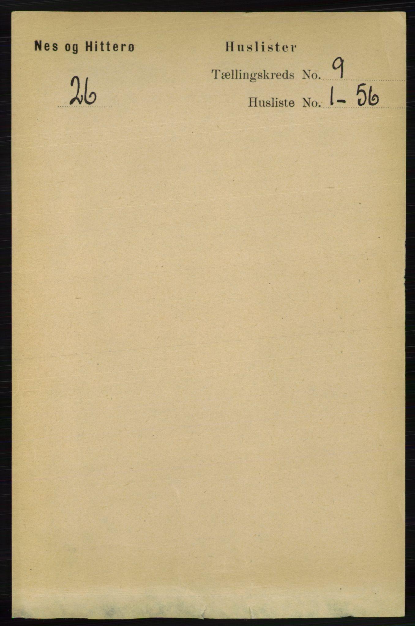 RA, Folketelling 1891 for 1043 Hidra og Nes herred, 1891, s. 3705
