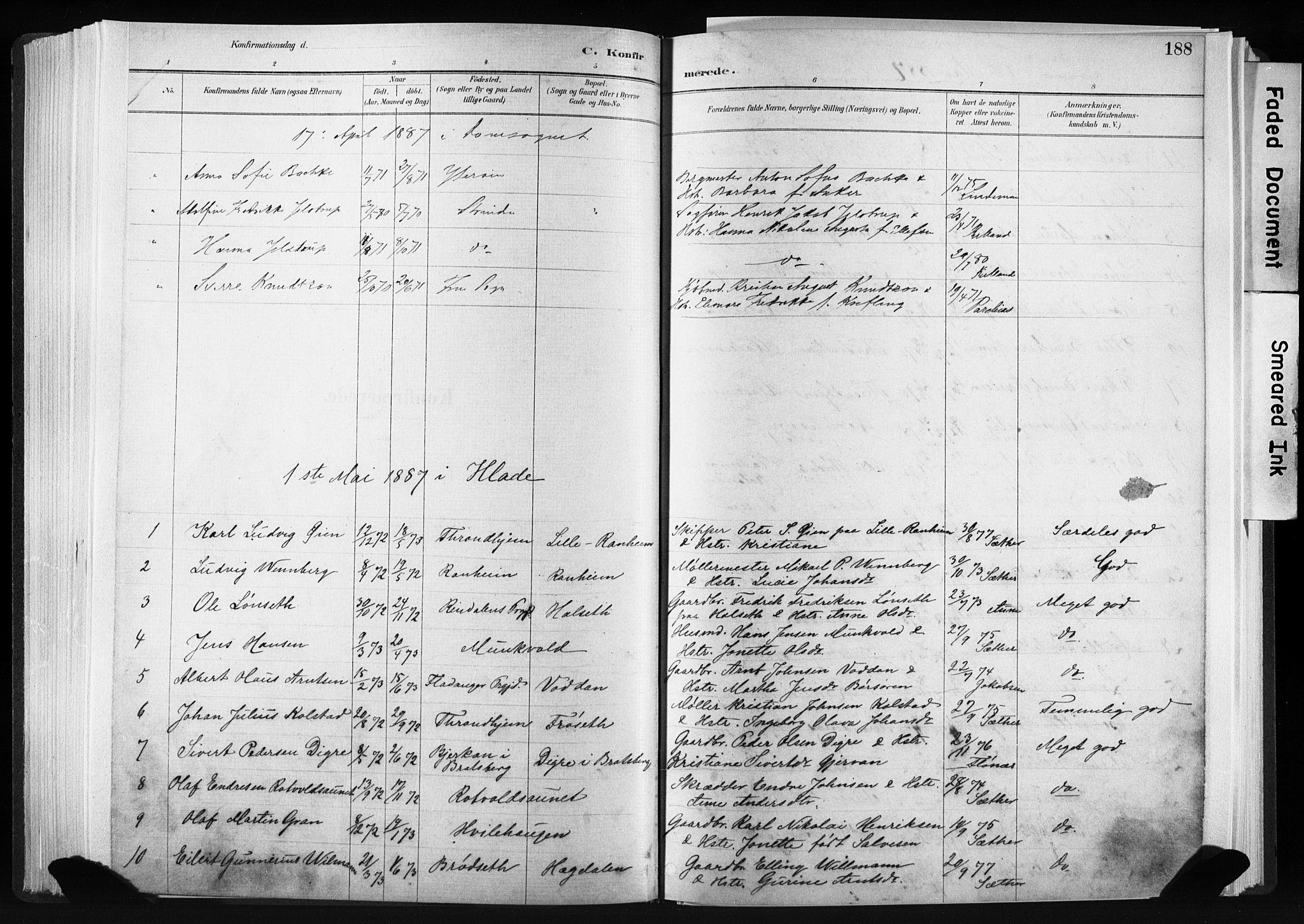 SAT, Ministerialprotokoller, klokkerbøker og fødselsregistre - Sør-Trøndelag, 606/L0300: Ministerialbok nr. 606A15, 1886-1893, s. 188