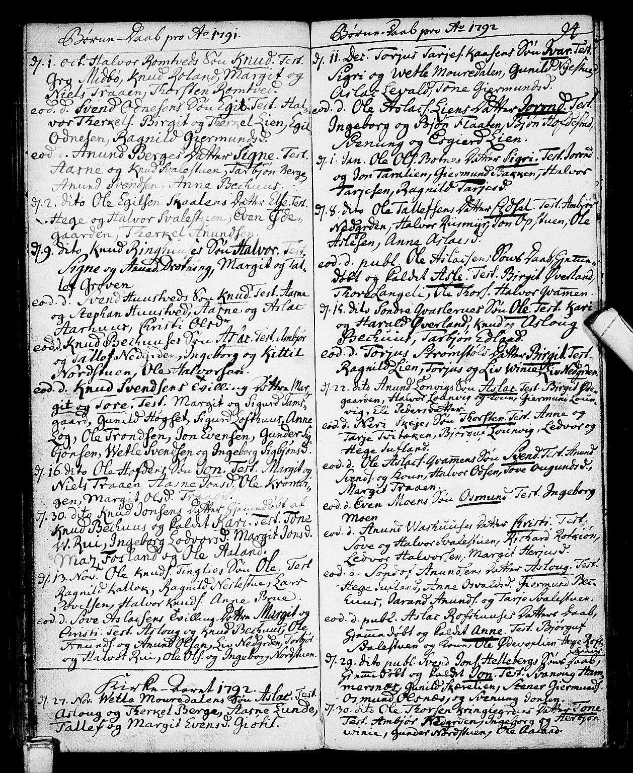 SAKO, Vinje kirkebøker, F/Fa/L0002: Ministerialbok nr. I 2, 1767-1814, s. 94