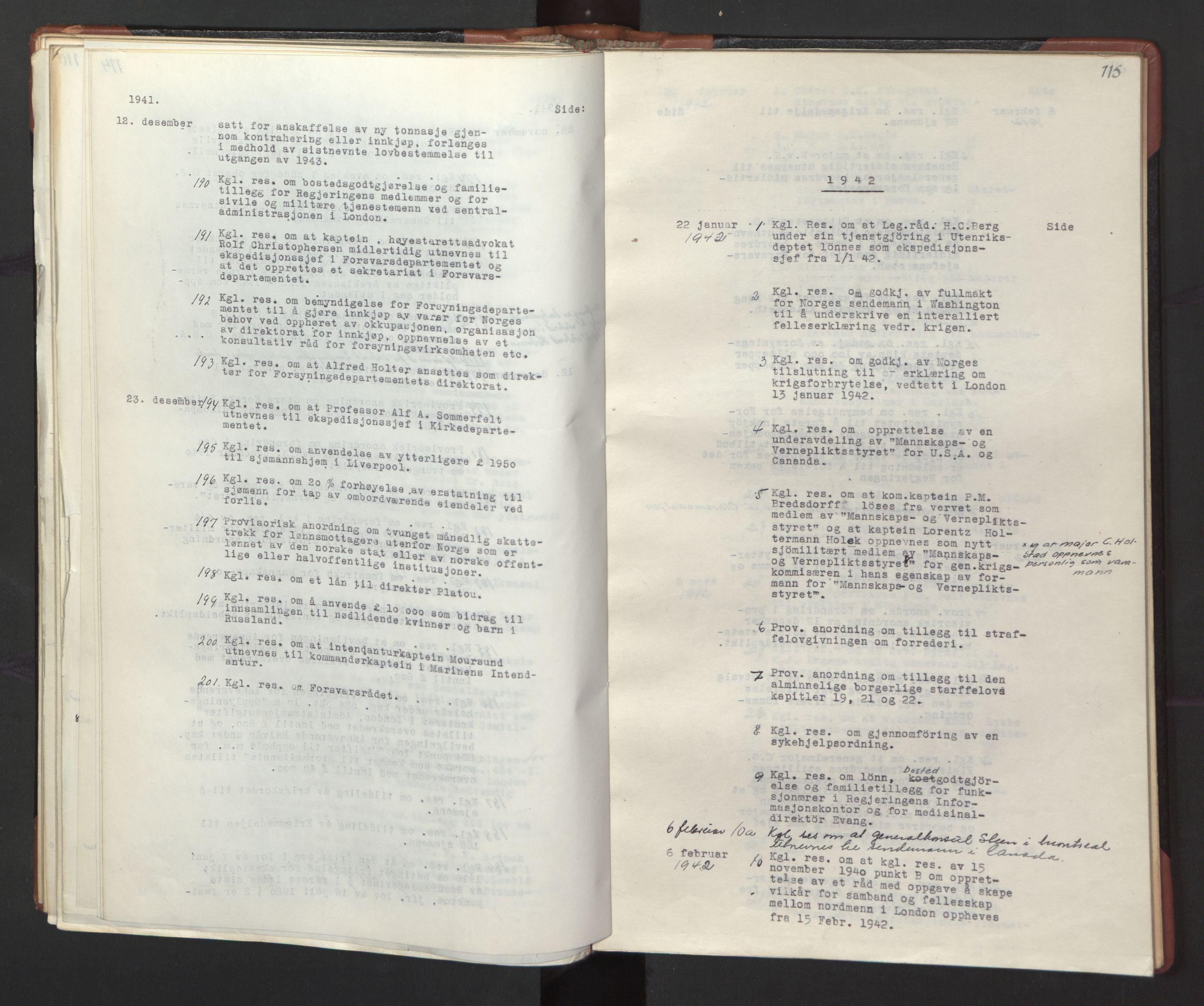 RA, Statsrådssekretariatet, A/Ac/L0127: Register 9/4-25/5, 1940-1945, s. 115