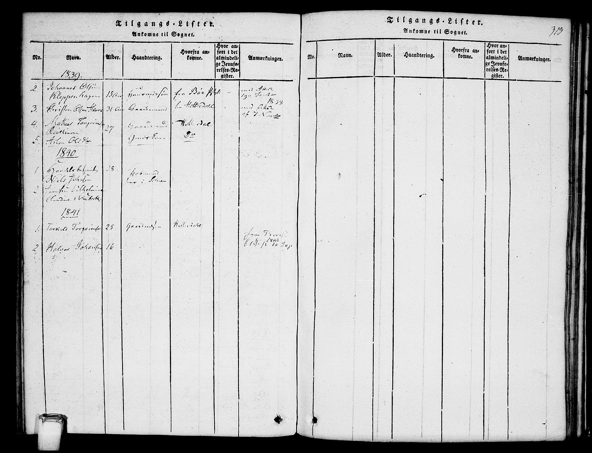 SAKO, Hjartdal kirkebøker, G/Gb/L0001: Klokkerbok nr. II 1, 1815-1842, s. 313