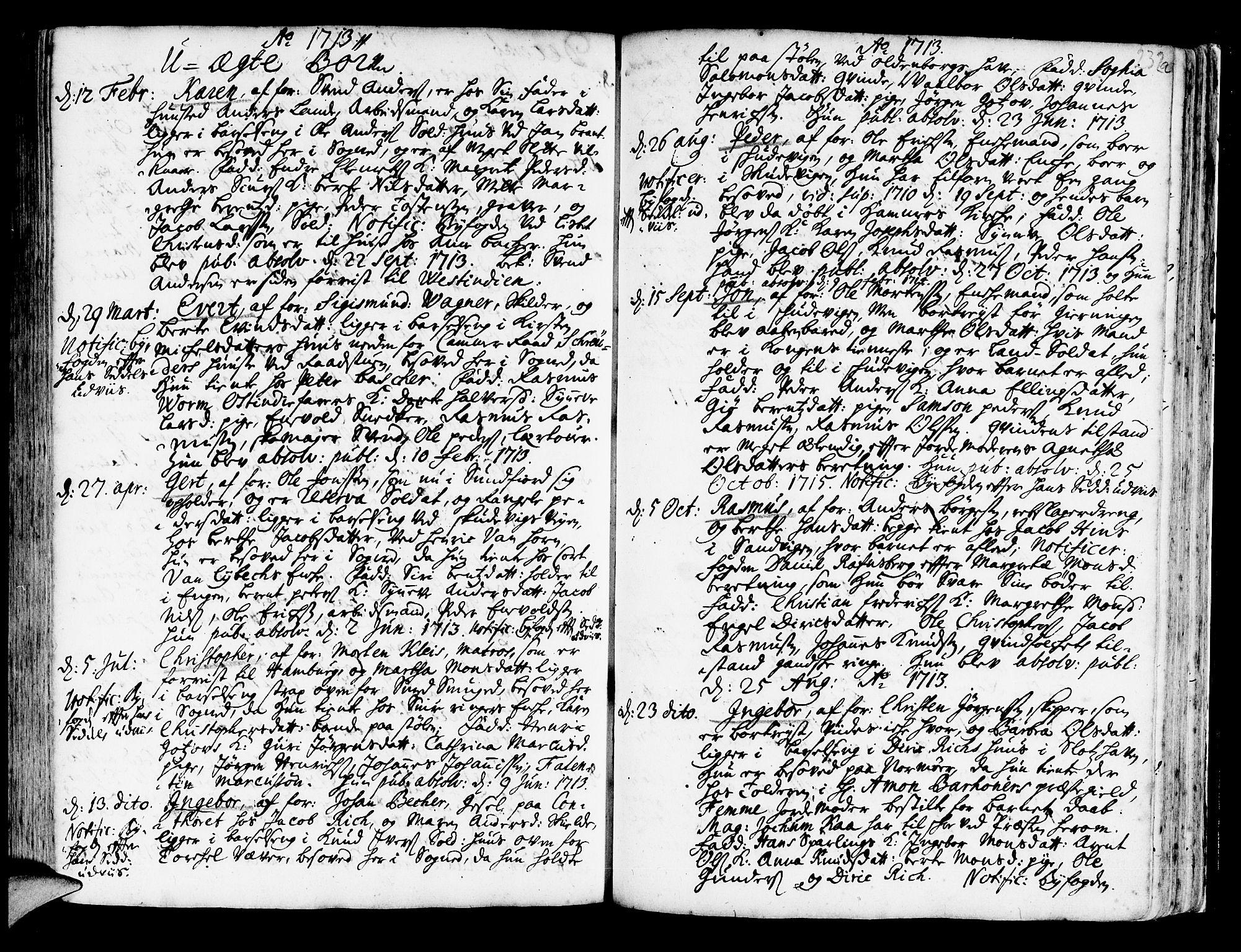 SAB, Korskirken Sokneprestembete, H/Haa/L0003: Ministerialbok nr. A 3, 1698-1719, s. 232