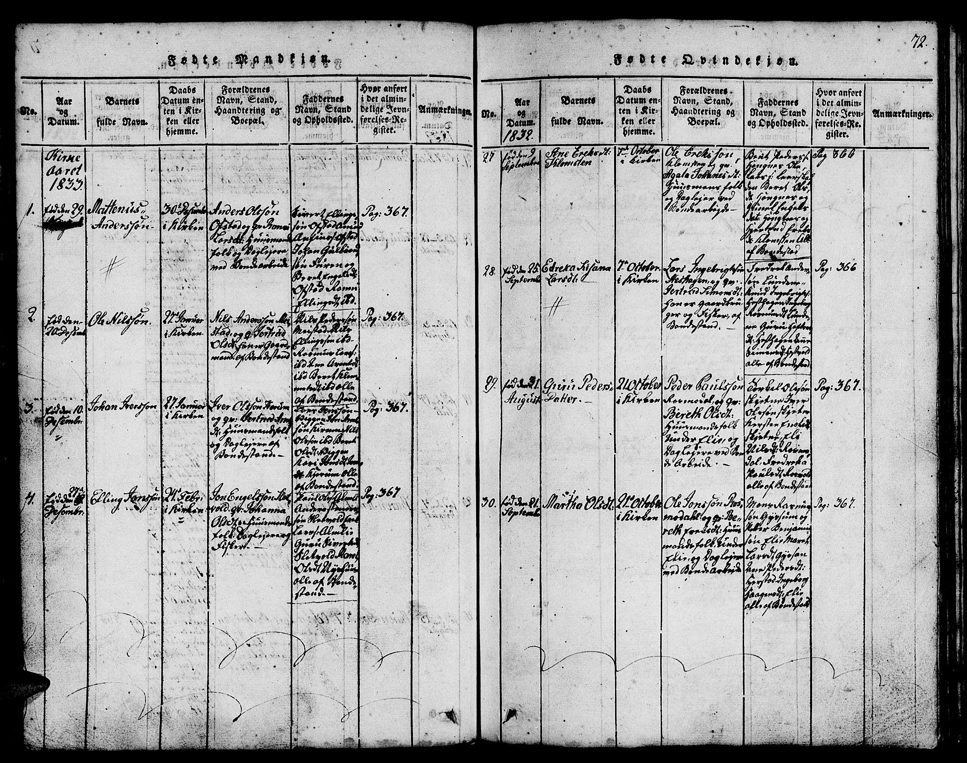 SAT, Ministerialprotokoller, klokkerbøker og fødselsregistre - Sør-Trøndelag, 665/L0776: Klokkerbok nr. 665C01, 1817-1837, s. 72