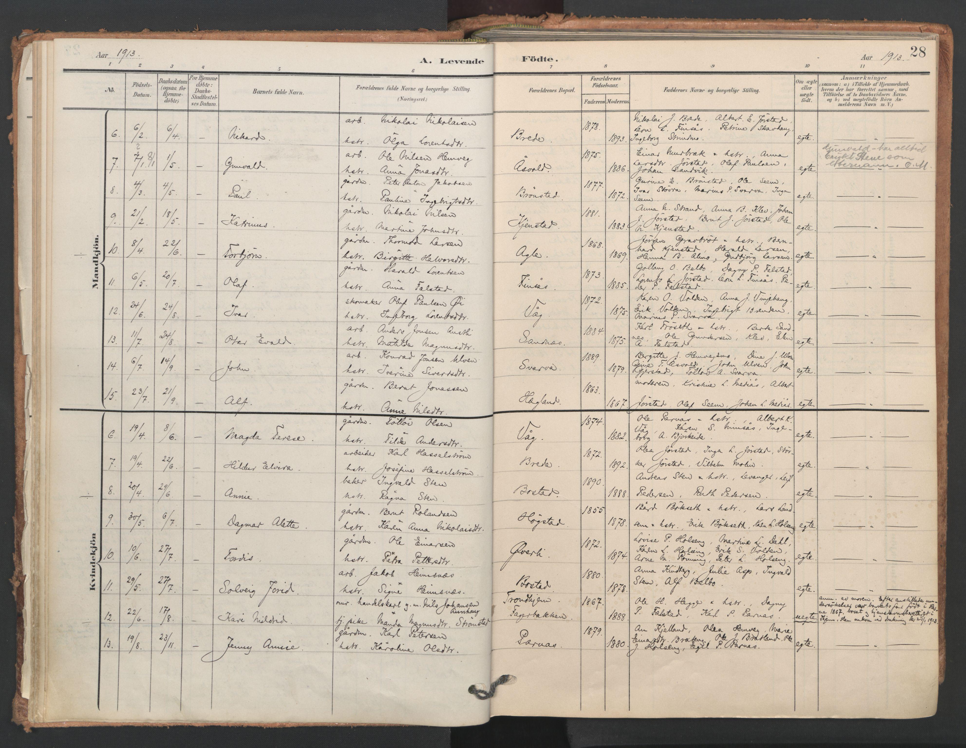 SAT, Ministerialprotokoller, klokkerbøker og fødselsregistre - Nord-Trøndelag, 749/L0477: Ministerialbok nr. 749A11, 1902-1927, s. 28
